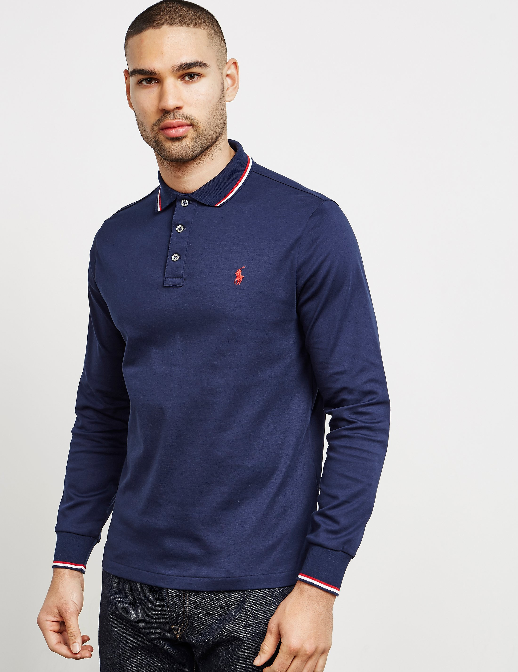 Polo Ralph Lauren Tipped Pima Long Sleeve Polo Shirt