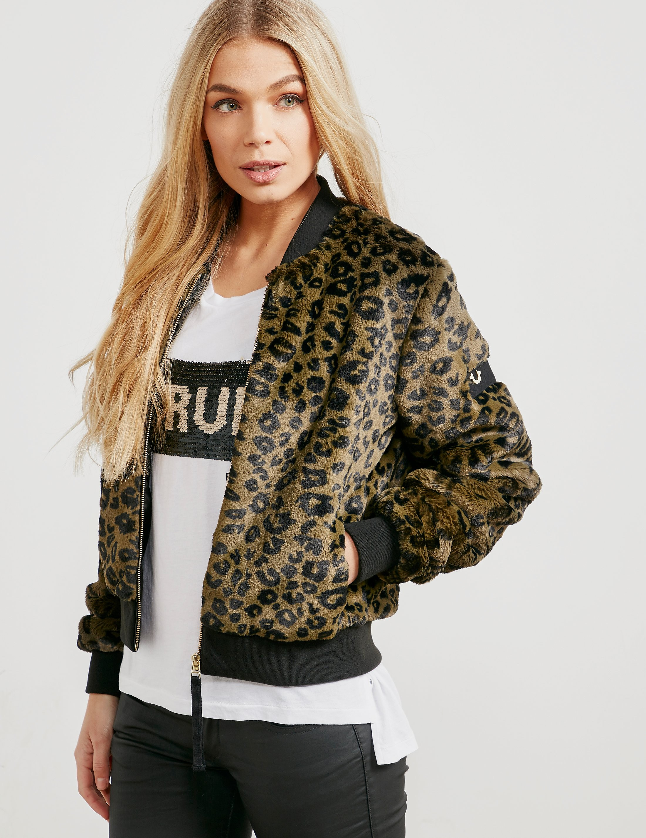 True Religion Faux Fur Padded Bomber Jacket