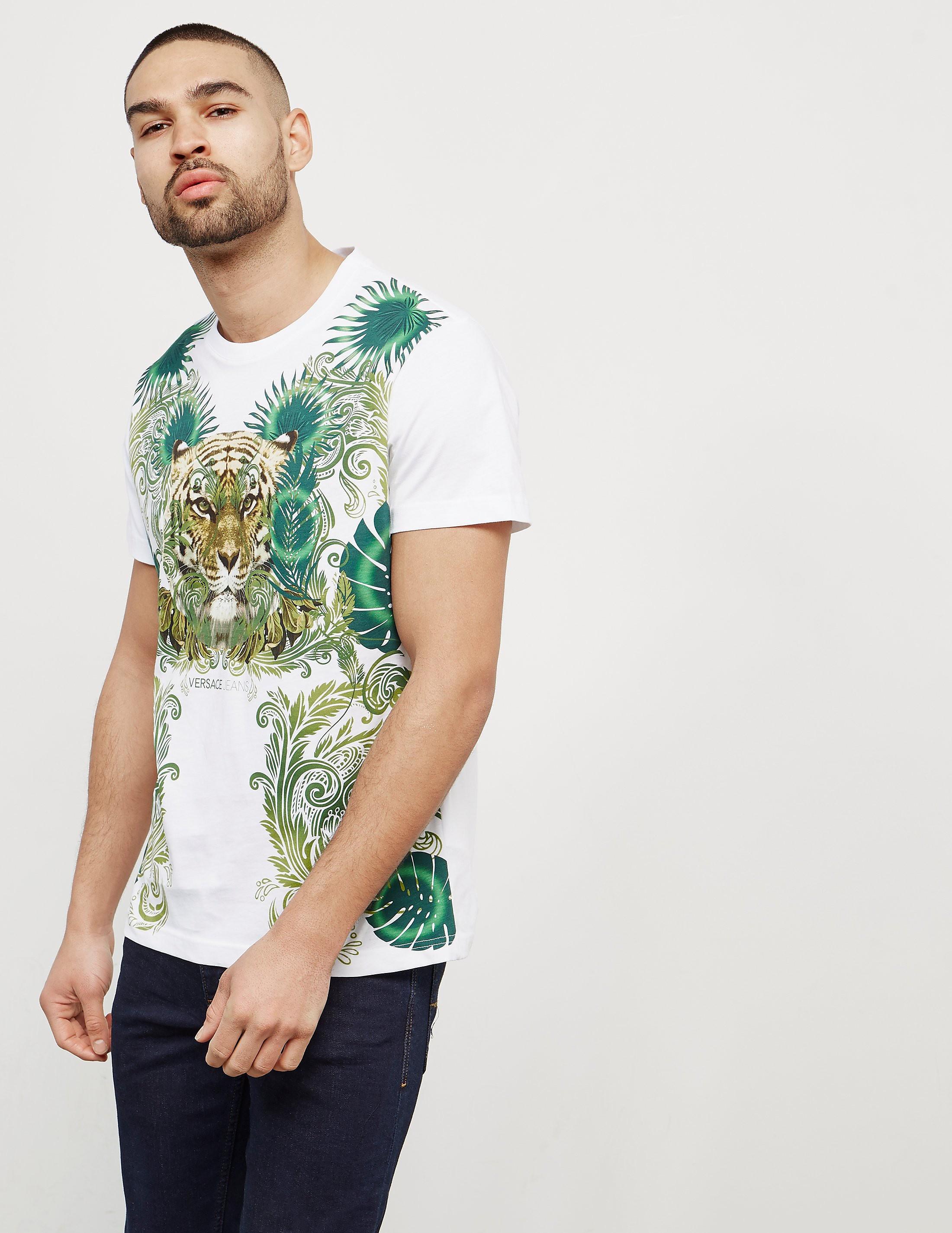 Versace Tiger Leaf Short Sleeve T-Shirt