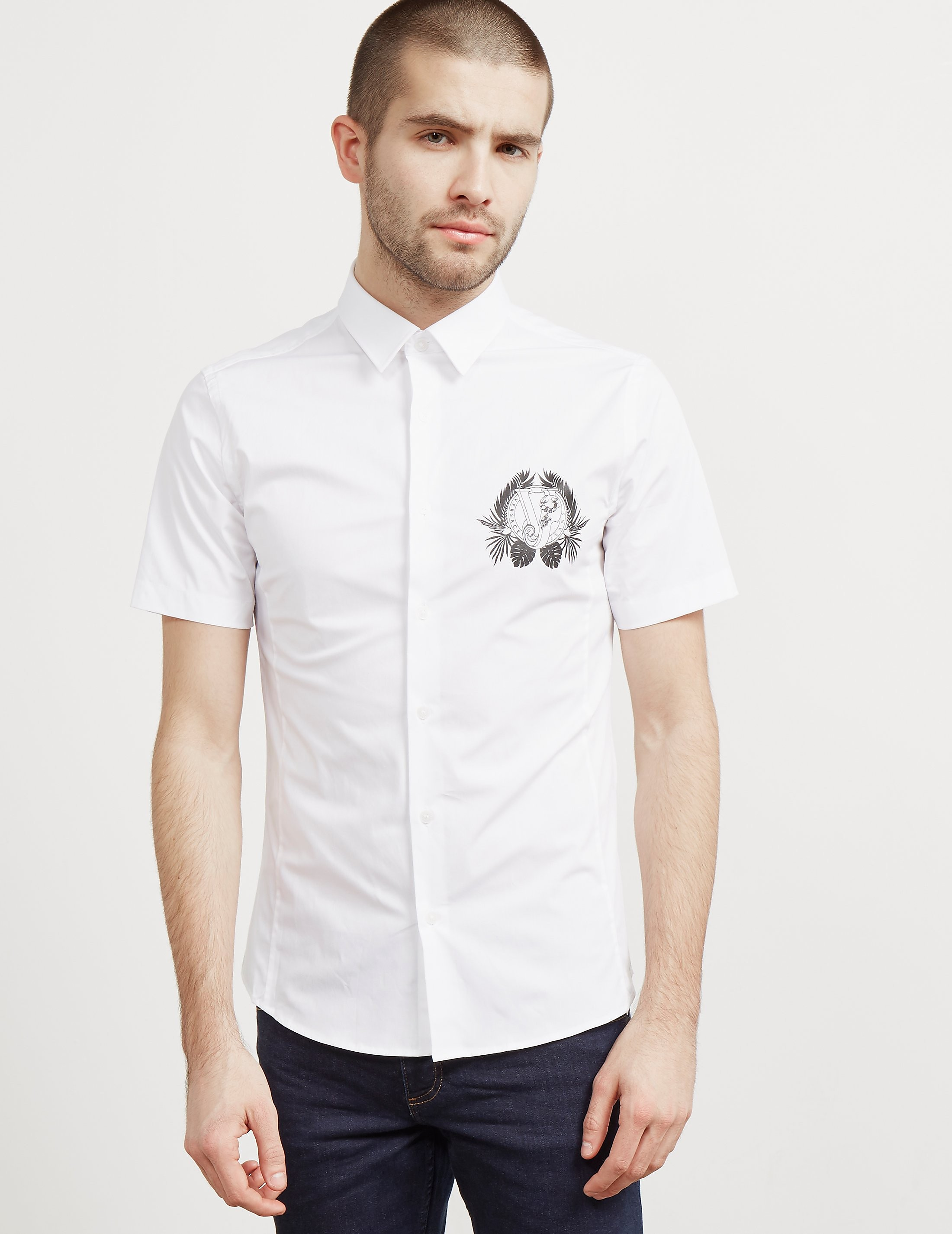 Versace Leaf Logo Short Sleeve Shirt