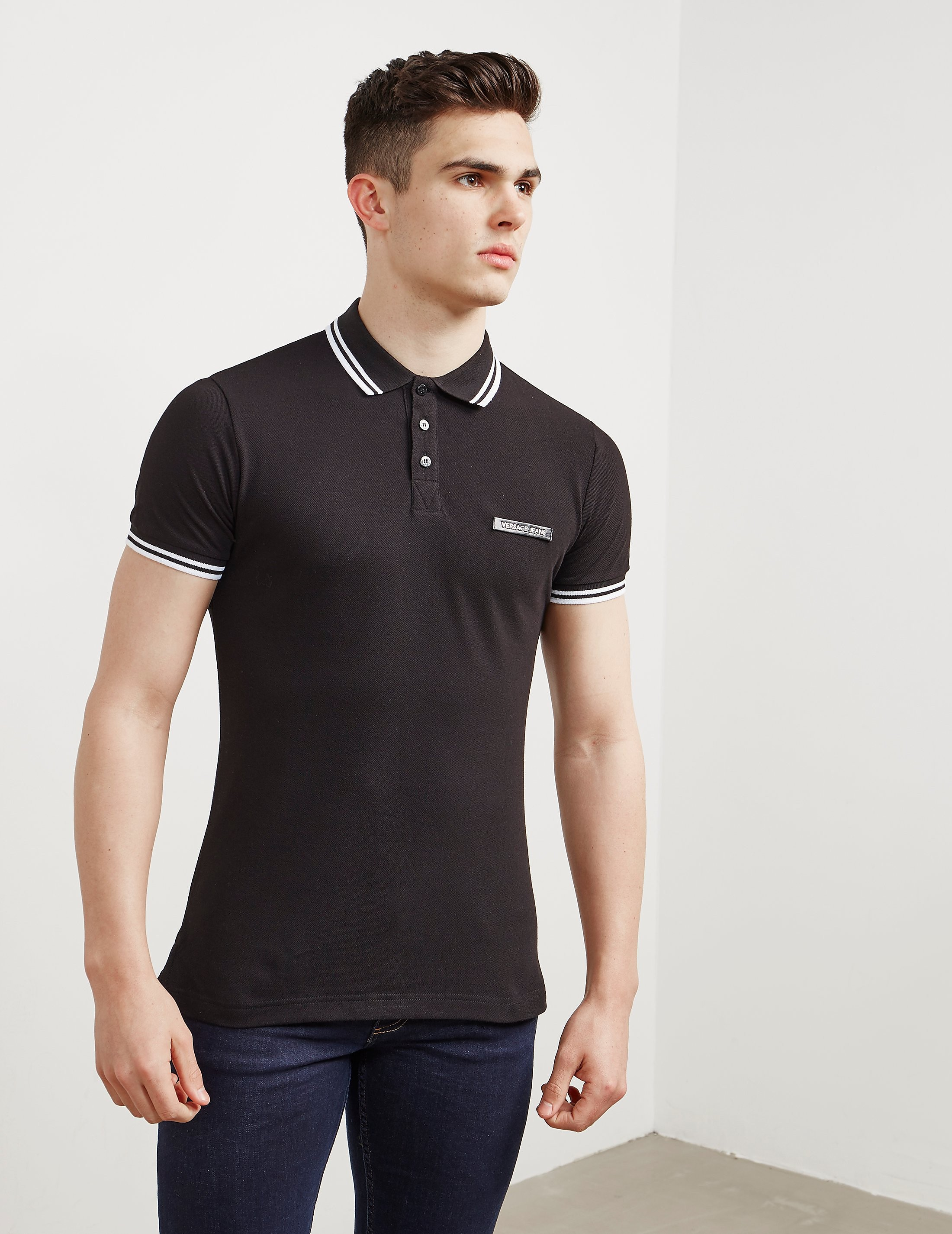 Versace Patch Logo Short Sleeve Polo Shirt
