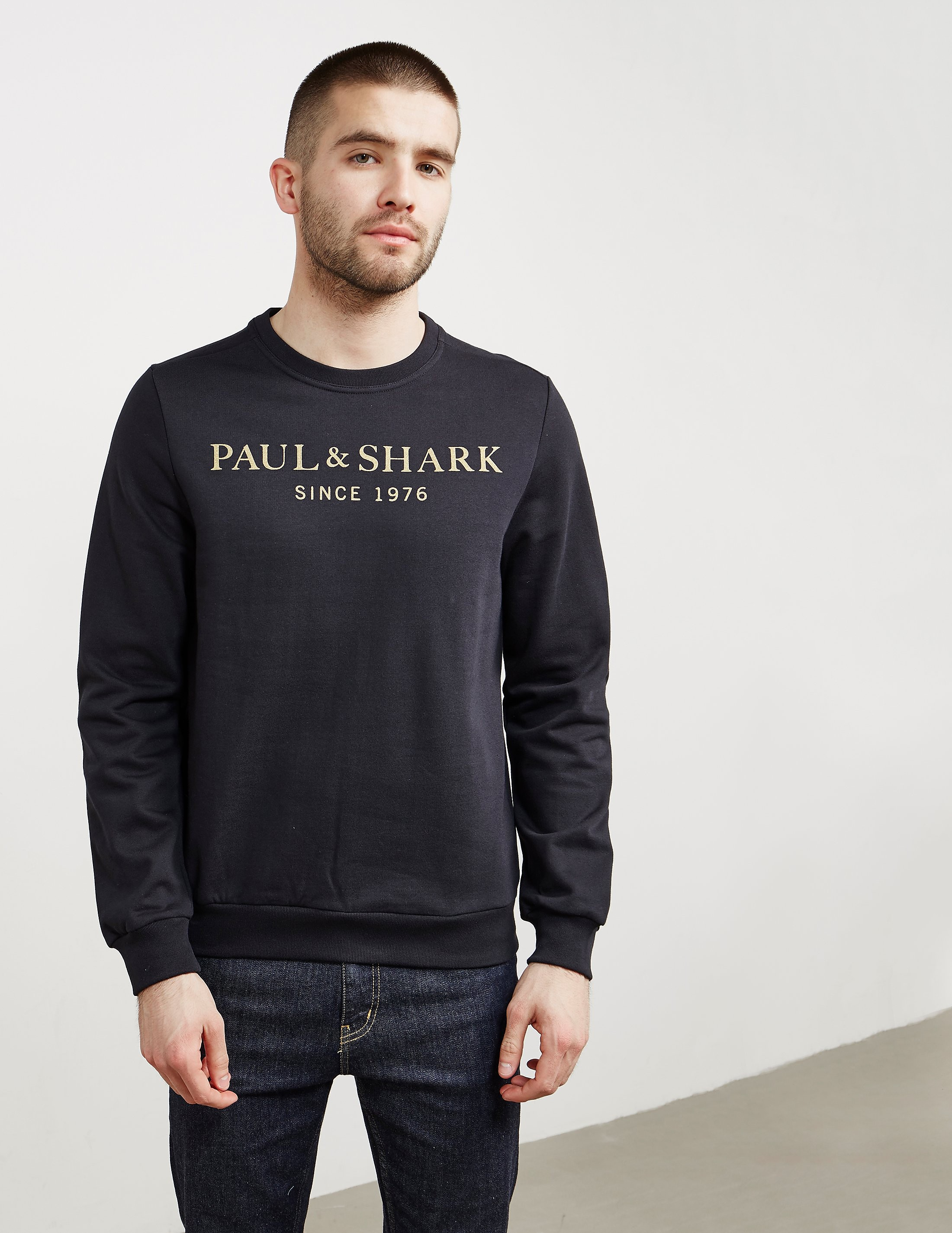 Paul and Shark Gold Logo Crew Sweatshirt - Exclusive