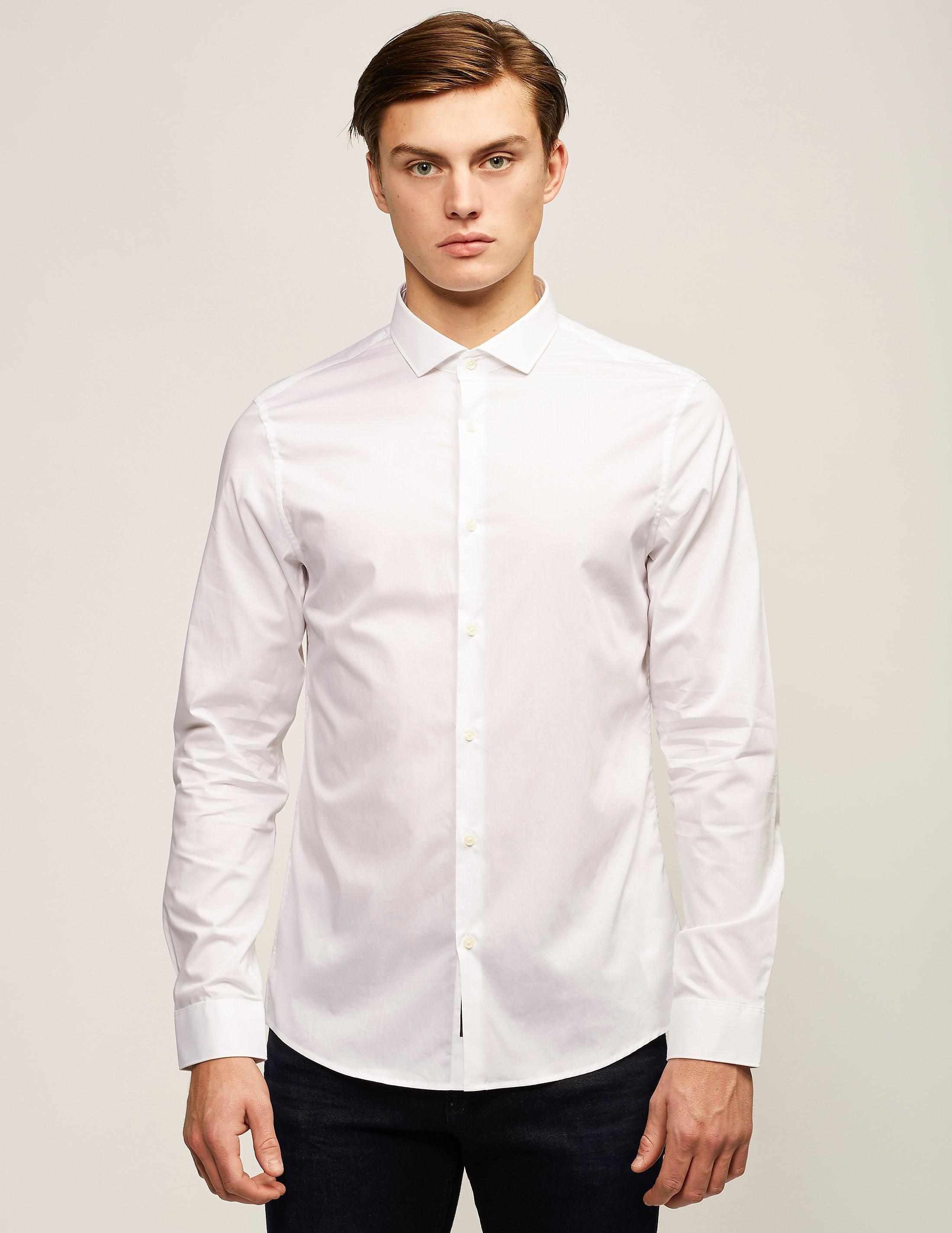 Michael Kors Slim Fit Cotton Stretch Long Sleeve Shirt