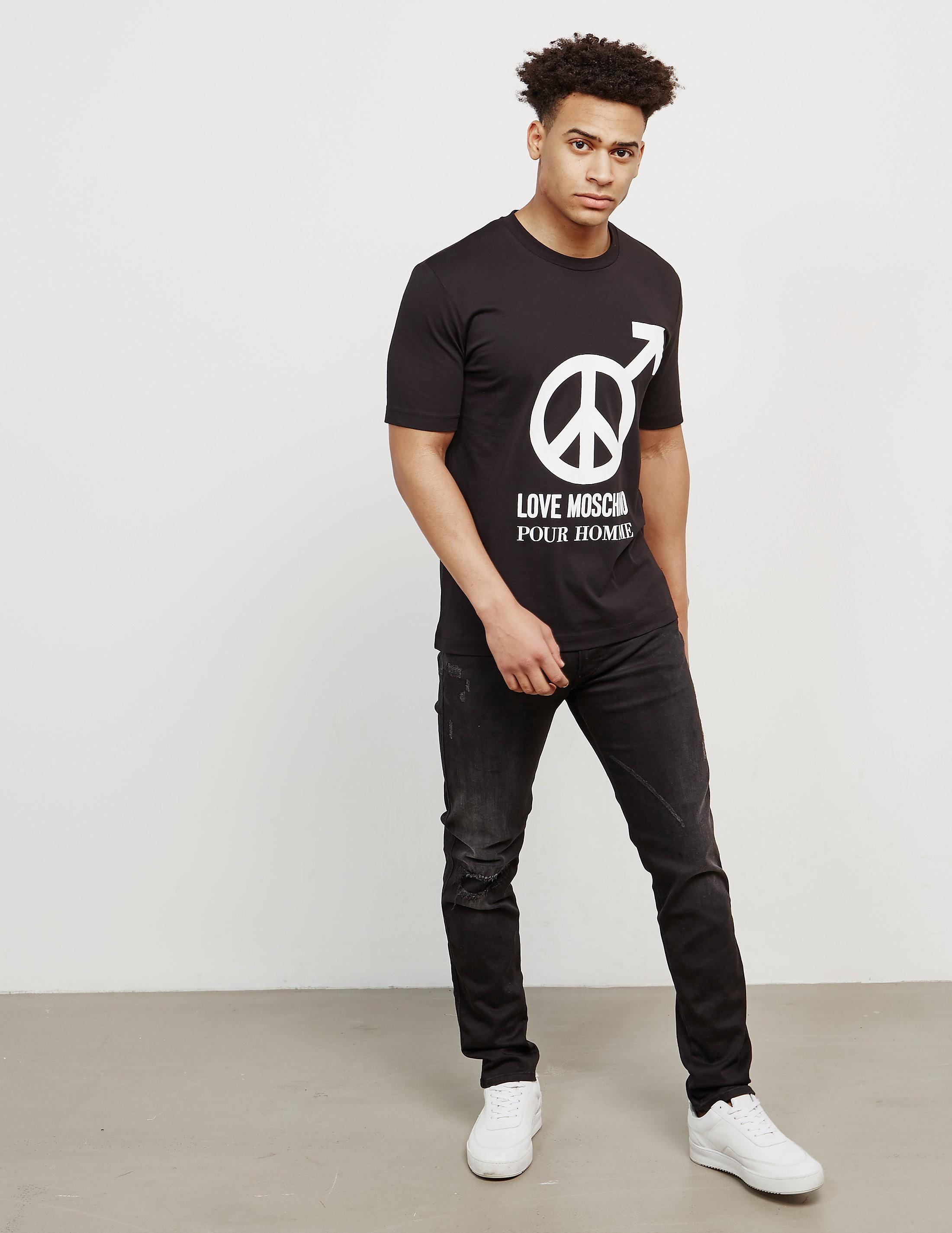Love Moschino Male Peace Short Sleeve T-Shirt