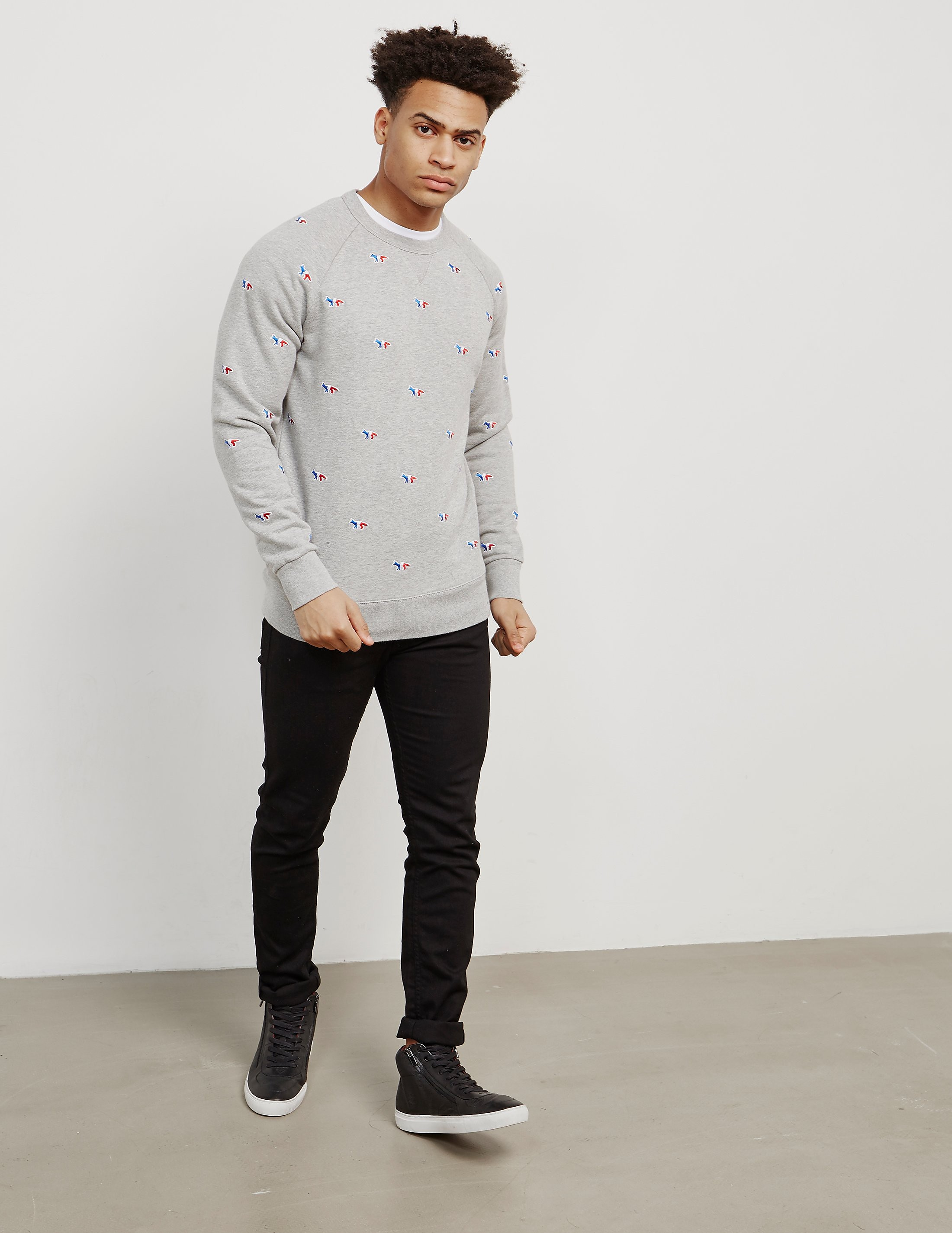 Maison Kitsune All Over Print Fox Sweatshirt