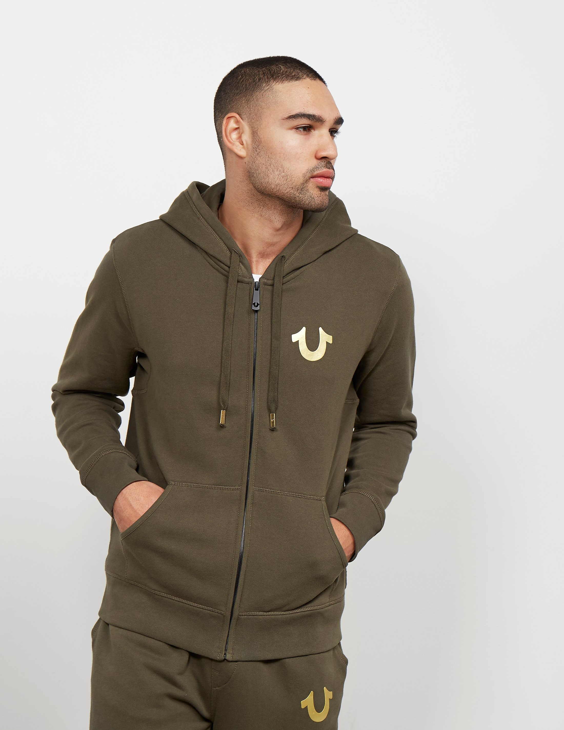 True Religion Full Zip Gold Puf Hoody
