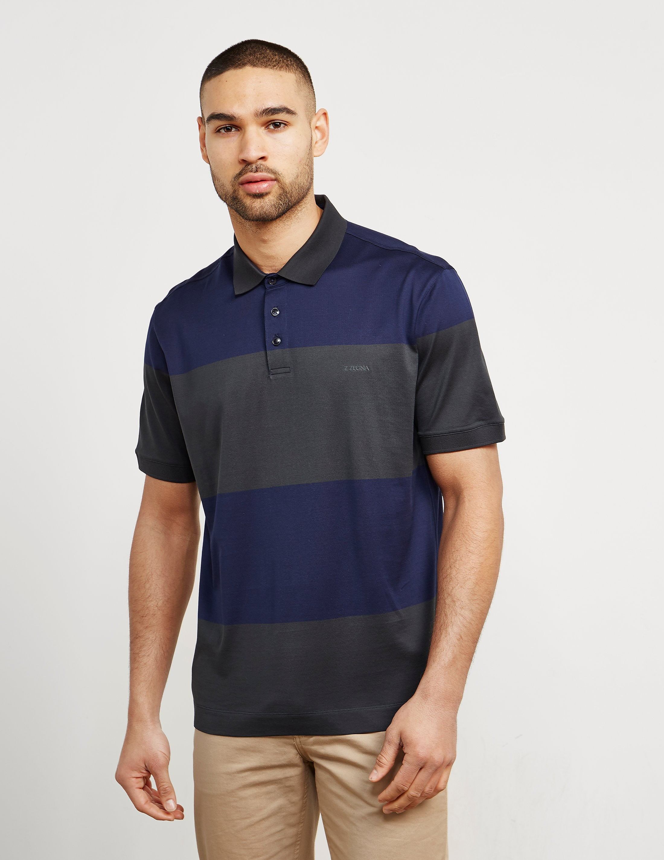 Z Zegna Block Stripe Short Sleeve Polo Shirt