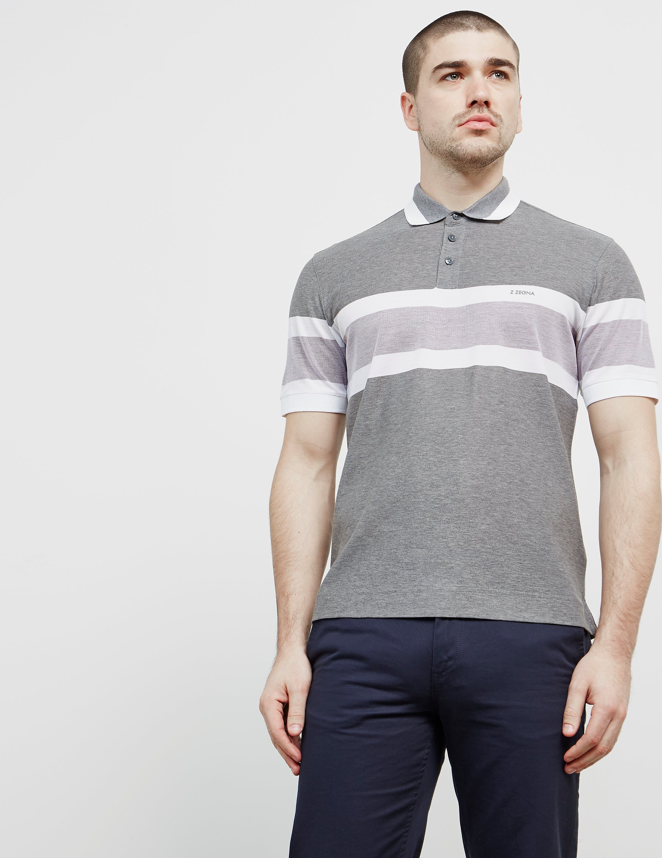 Z Zegna Stripe Short Sleeve Polo Shirt