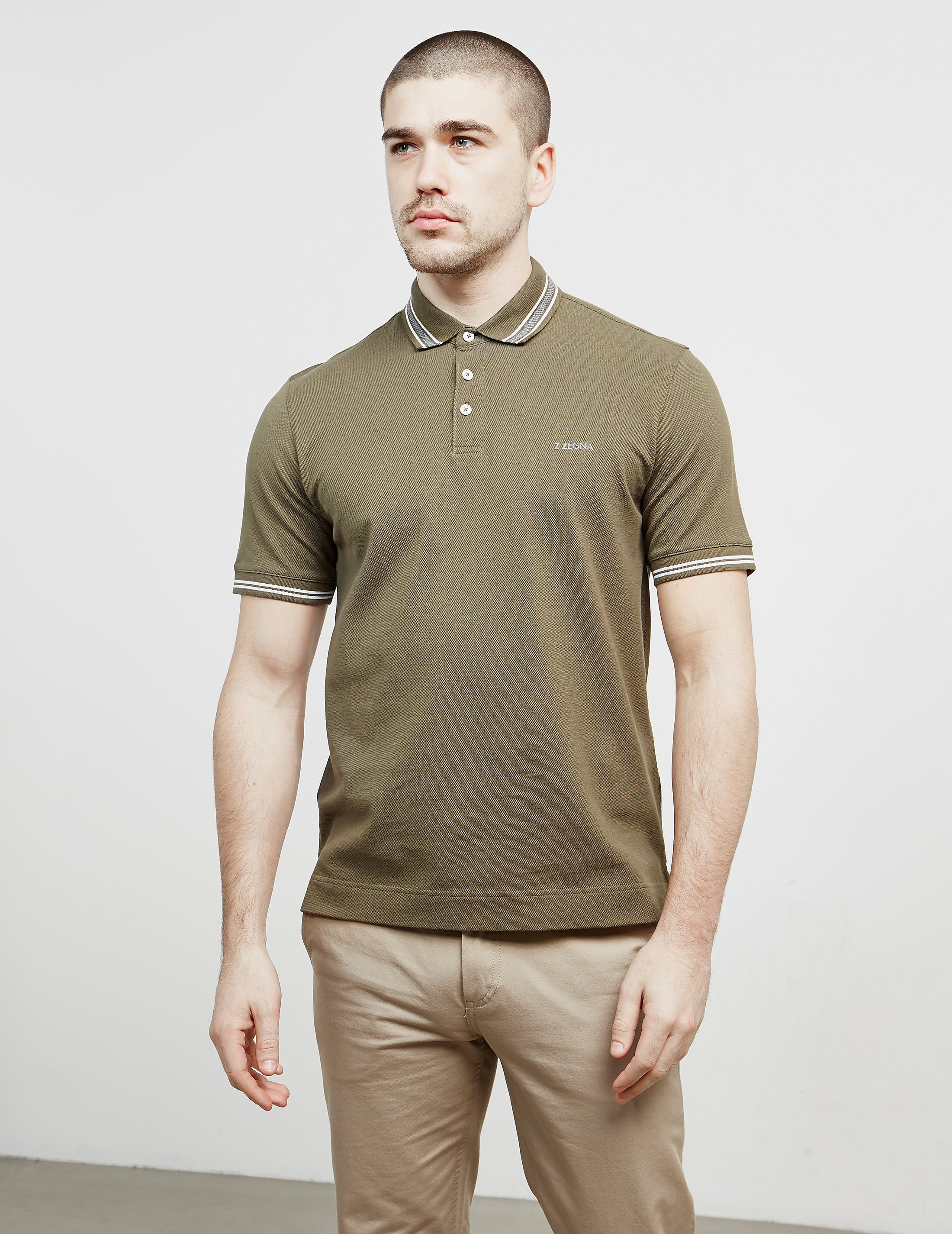 Z Zegna Tipped Short Sleeve Polo Shirt