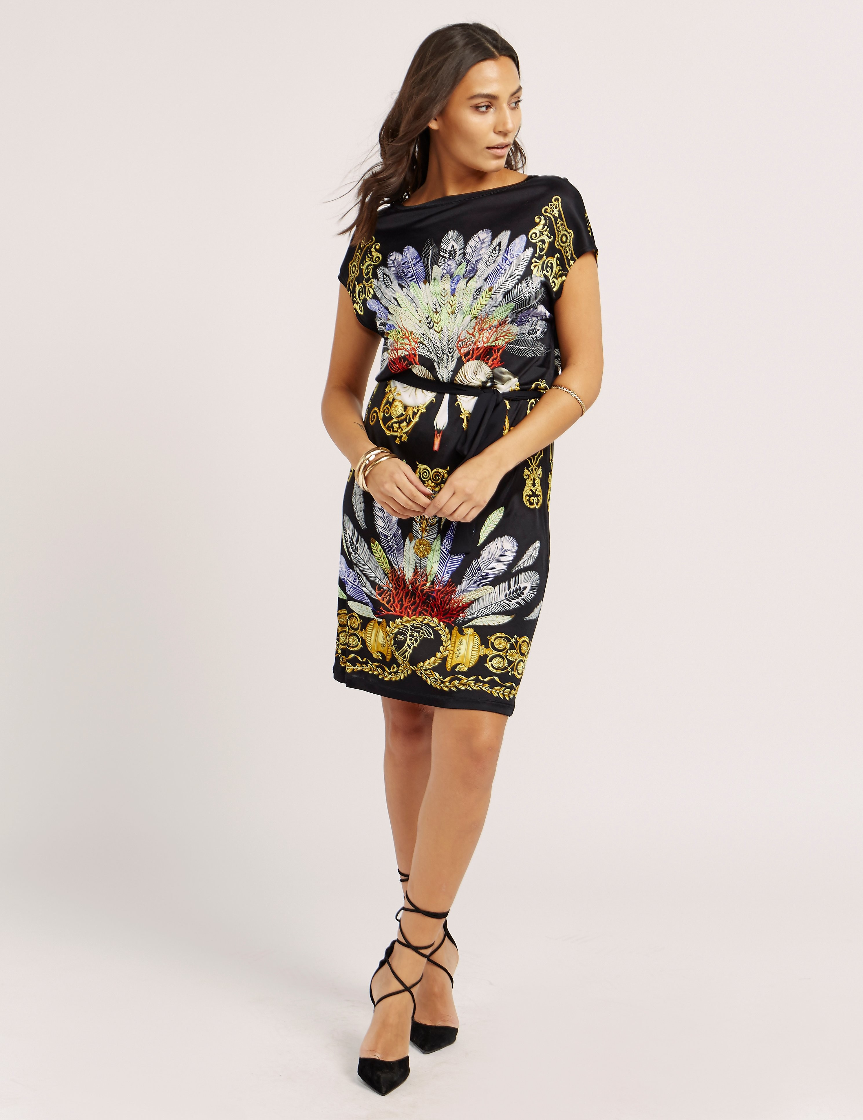 Versace Printed Belted Dress