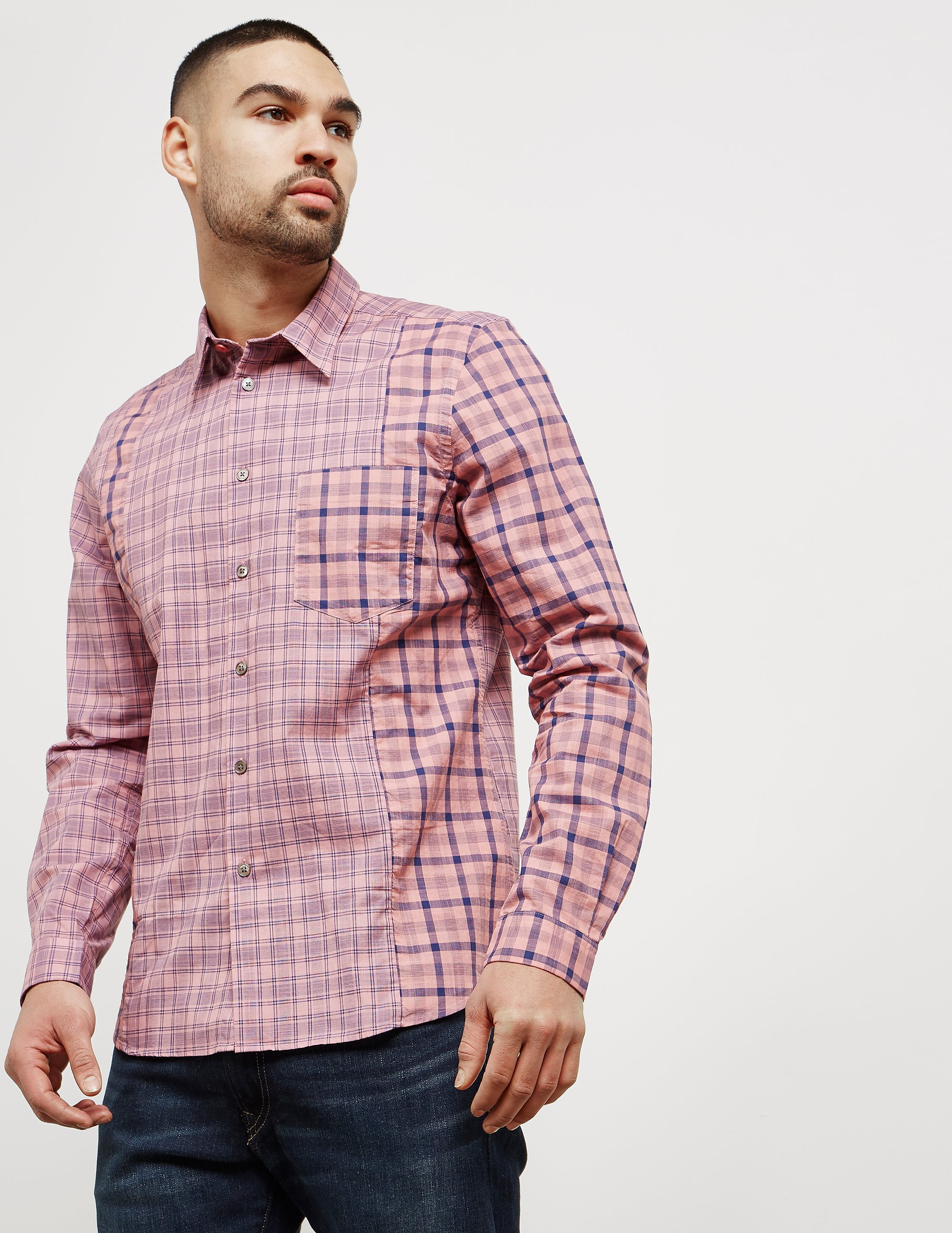 Paul Smith Cut and Sew Check Long Sleeve Shirt