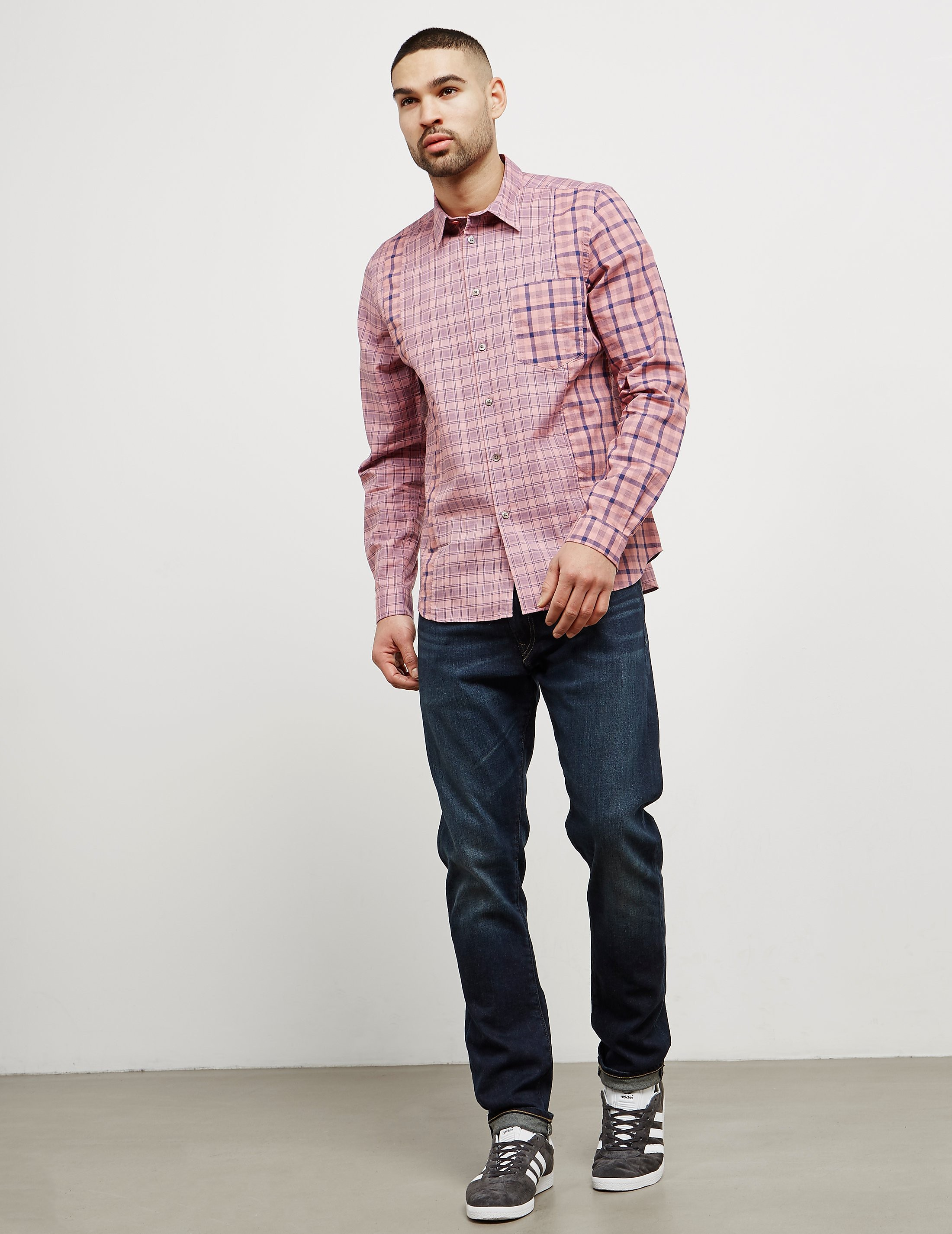 PS Paul Smith Cut and Sew Check Long Sleeve Shirt