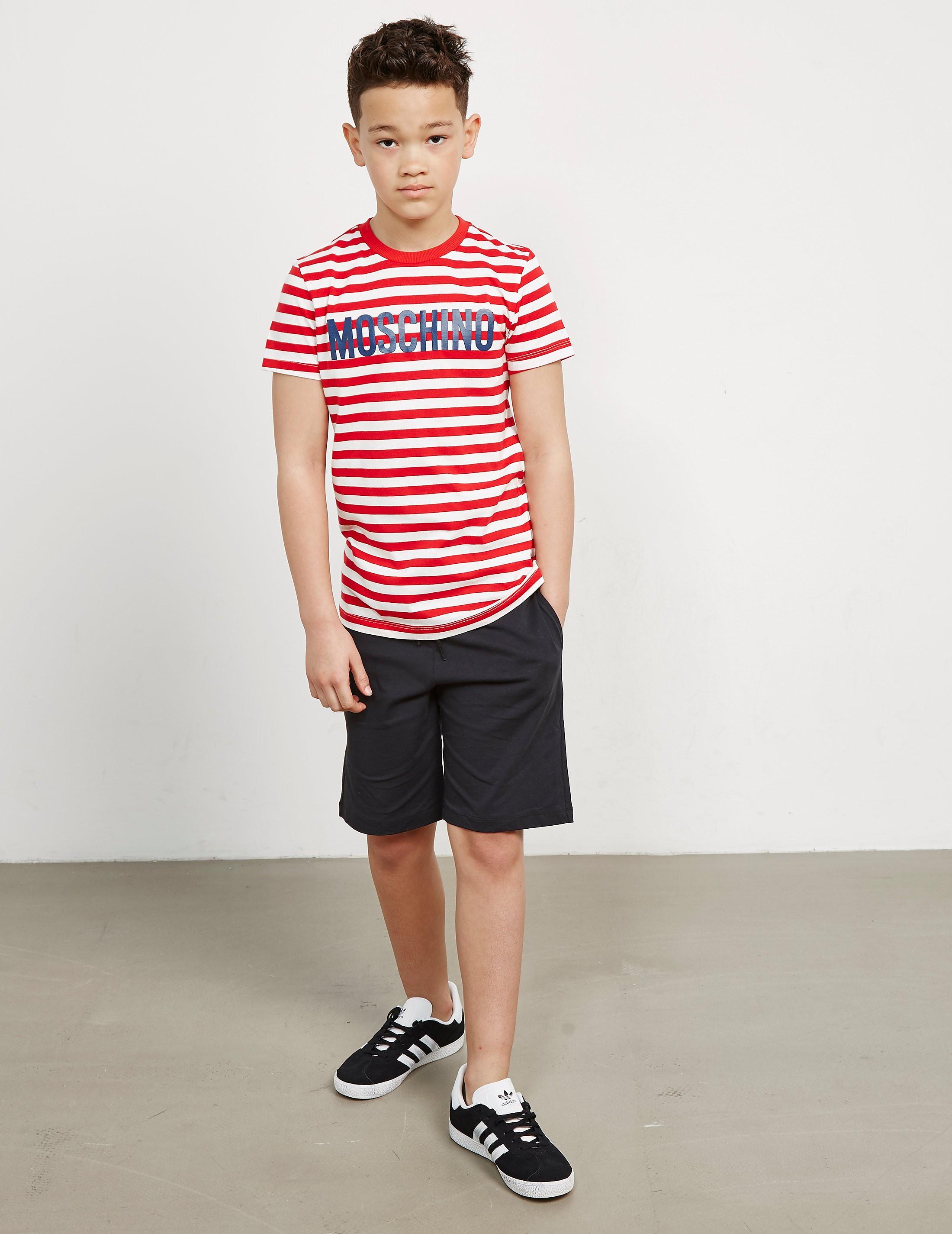 Moschino Stripe Logo Short Sleeve T-Shirt