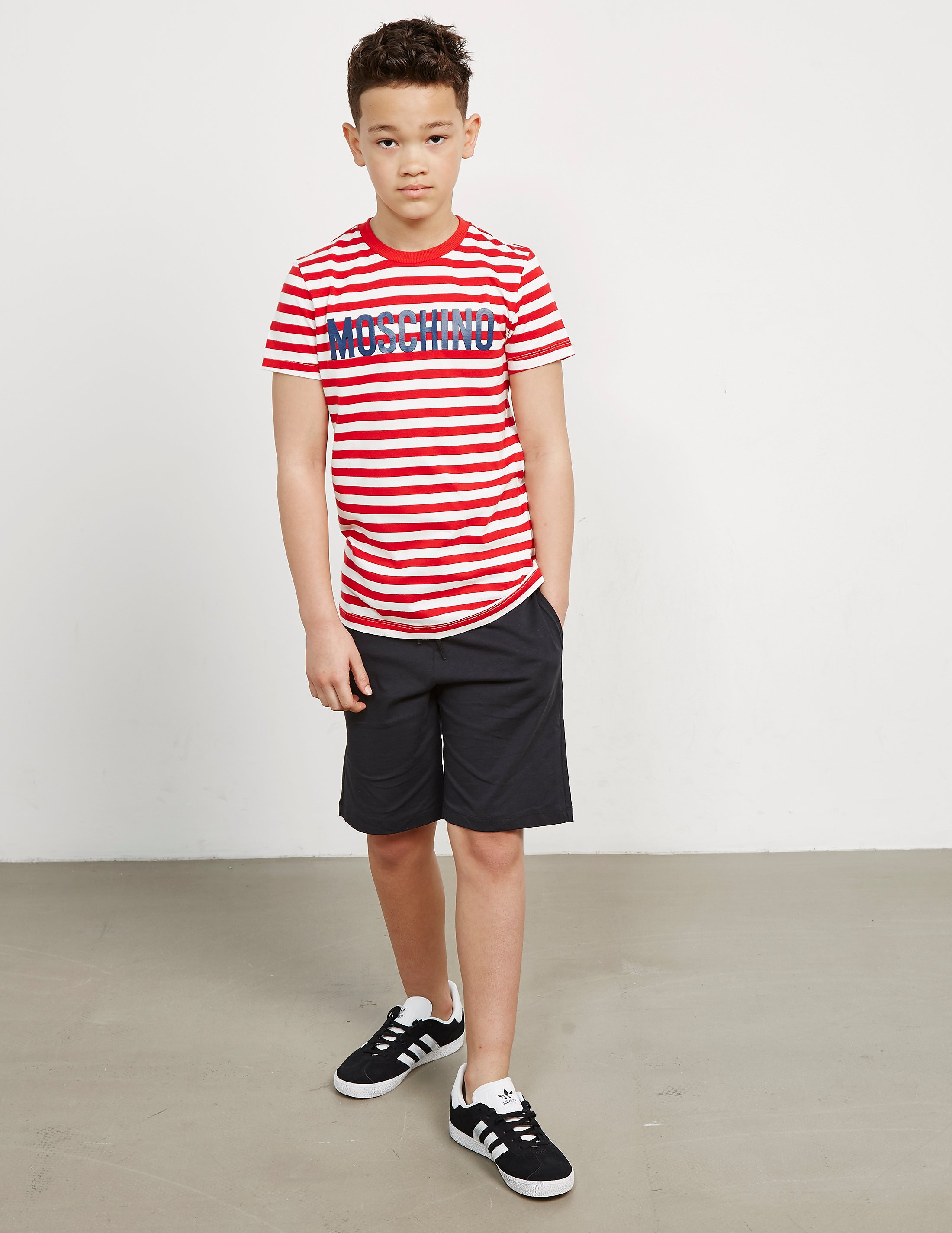 Moschino Stripe Logo Short Sleeve T-Shirt
