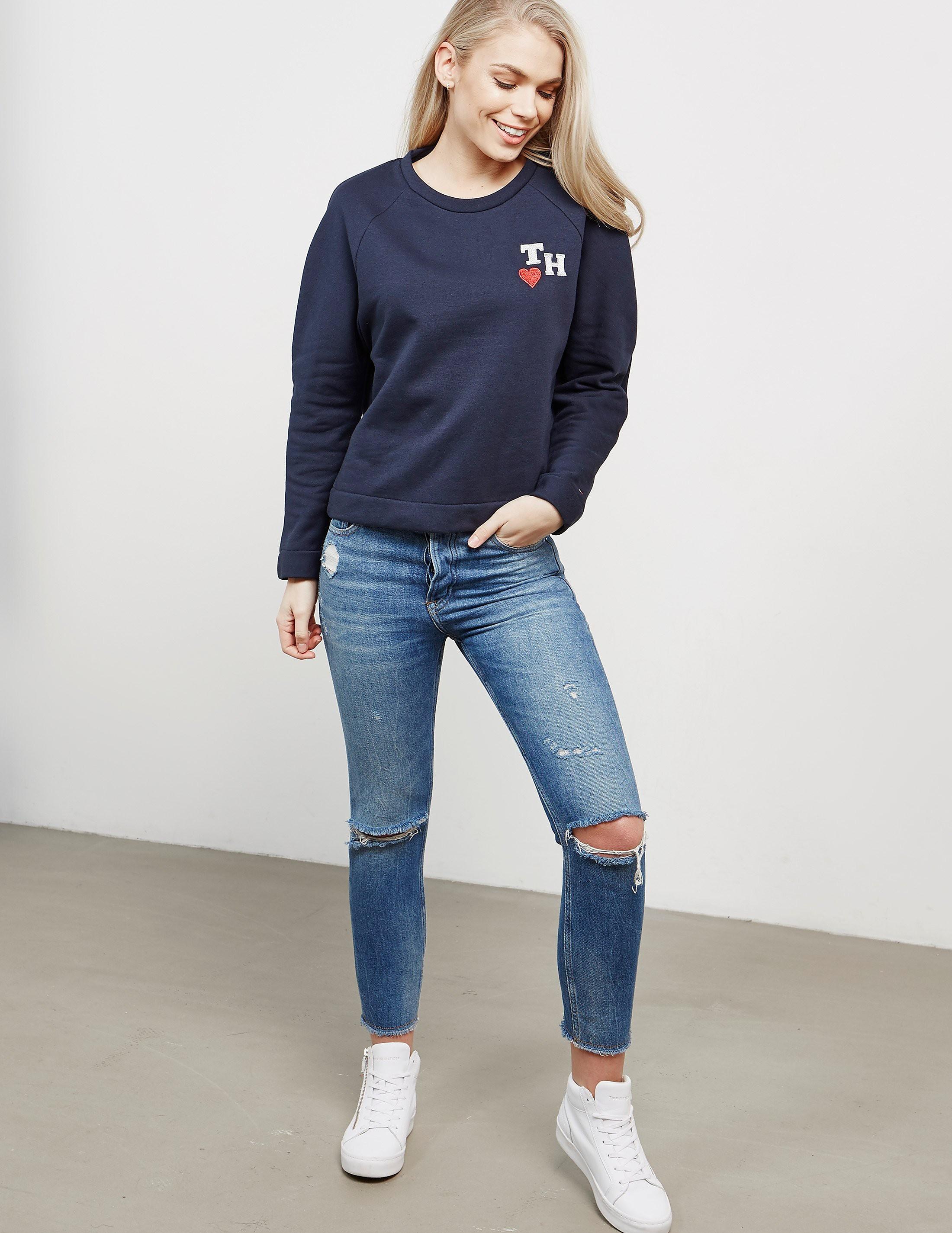 Tommy Hilfiger Glitter Embroidered Heart Sweatshirt