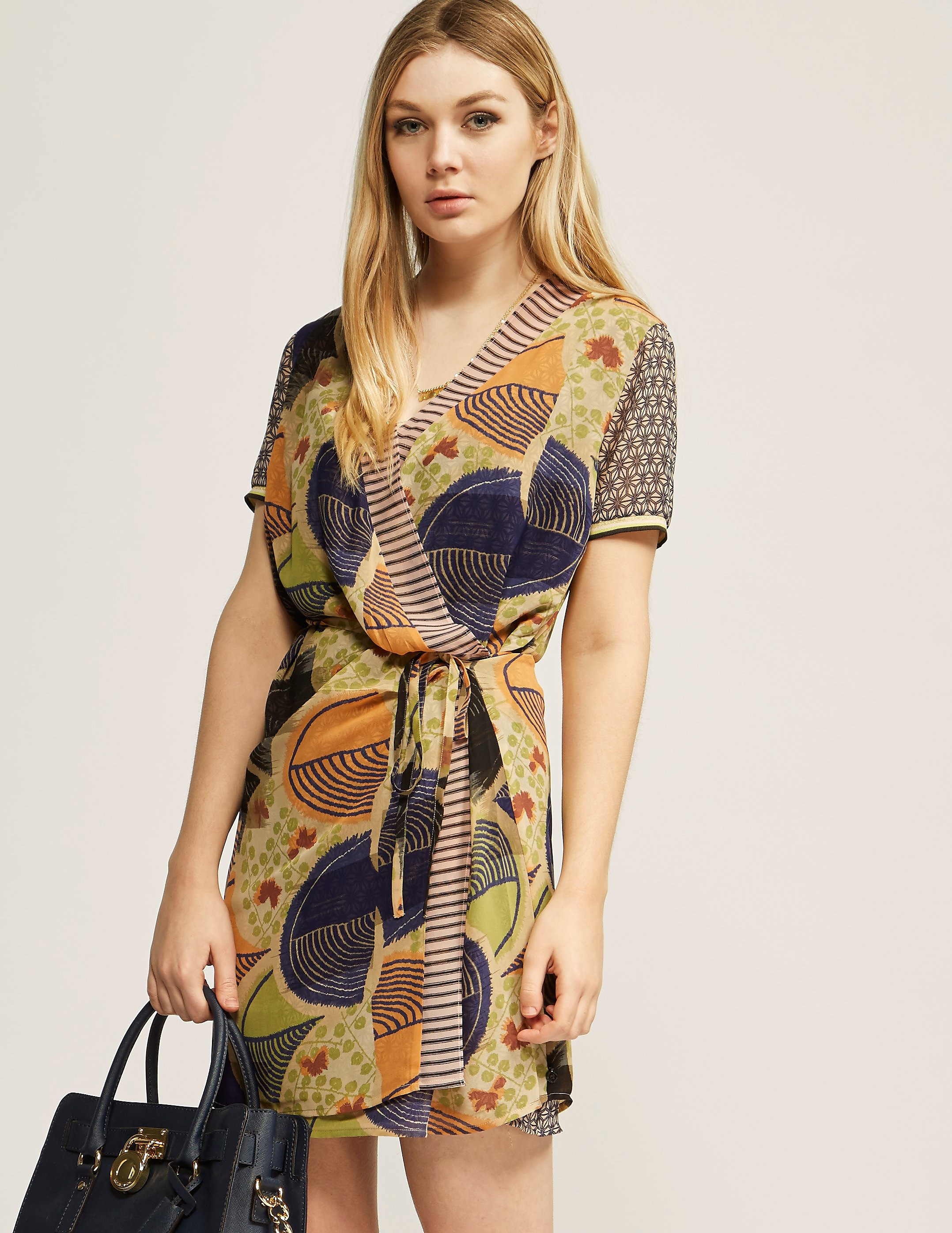Maison Scotch Mixed Print Double Layer Dress