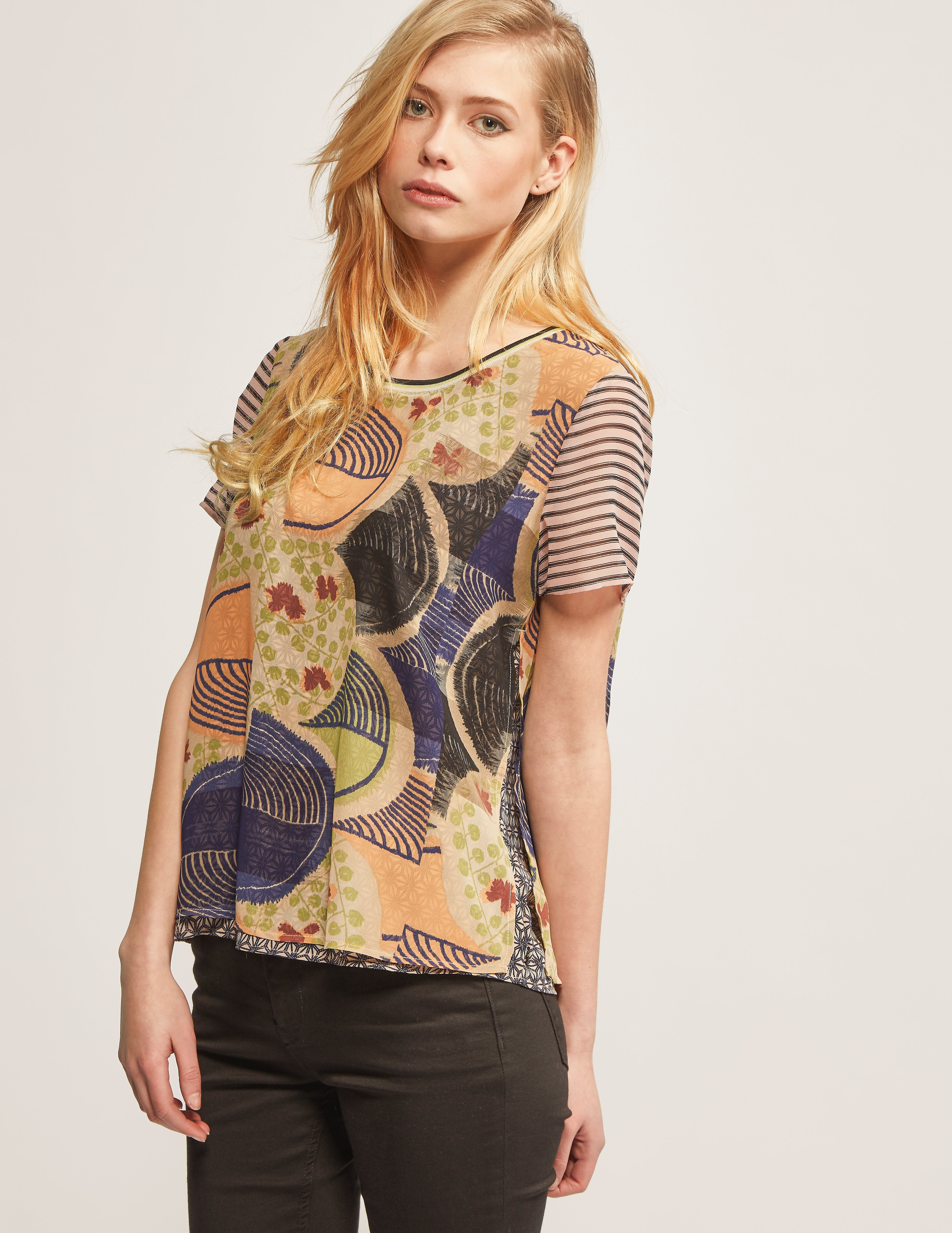 Maison Scotch Mixed Print Double Layer Top
