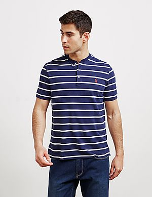 984266a24e4 Polo Ralph Lauren Stripe Grandad Collar Short Sleeve Polo Shirt ...