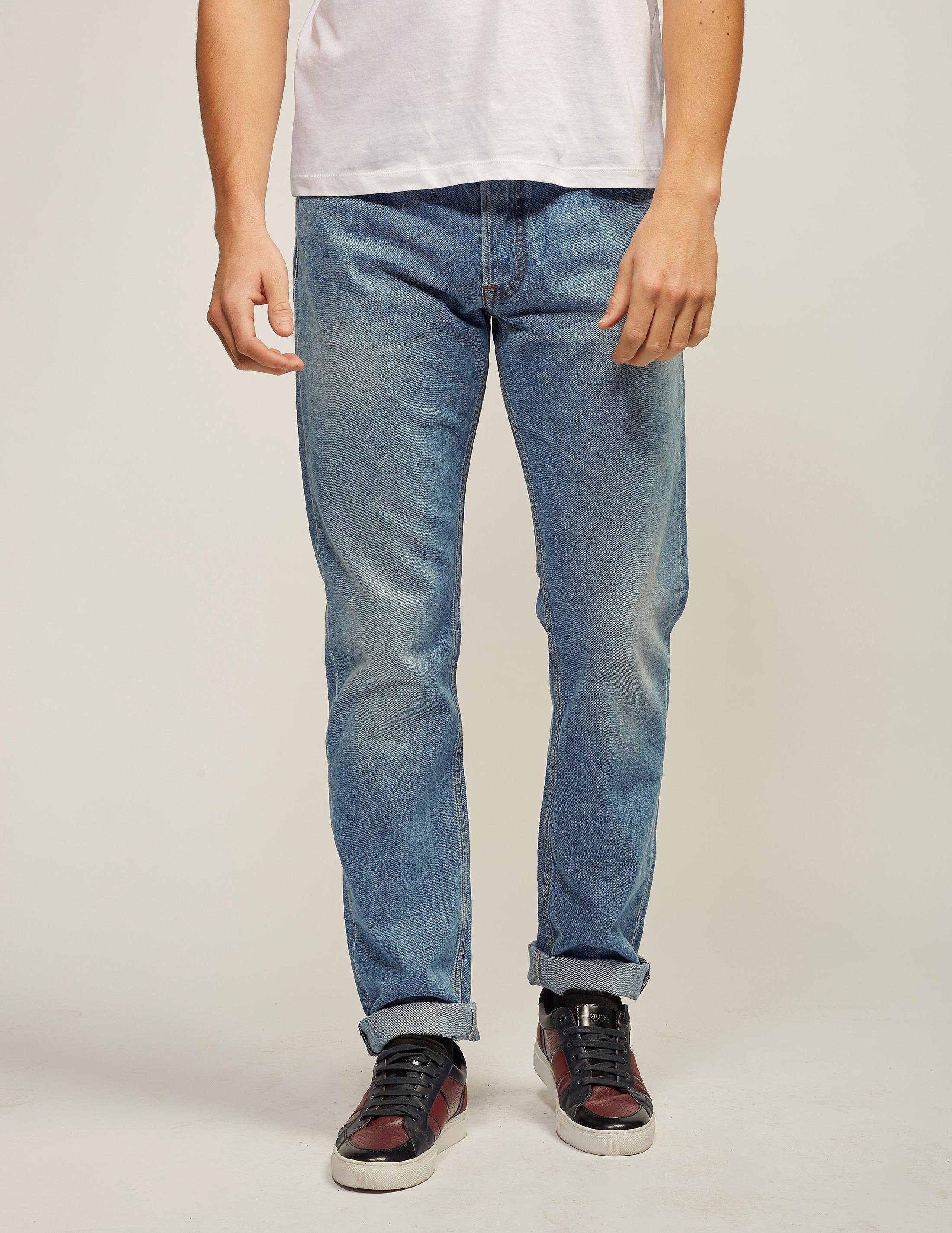 Stone Island Washed Denim Tapered Fit Jeans - Long