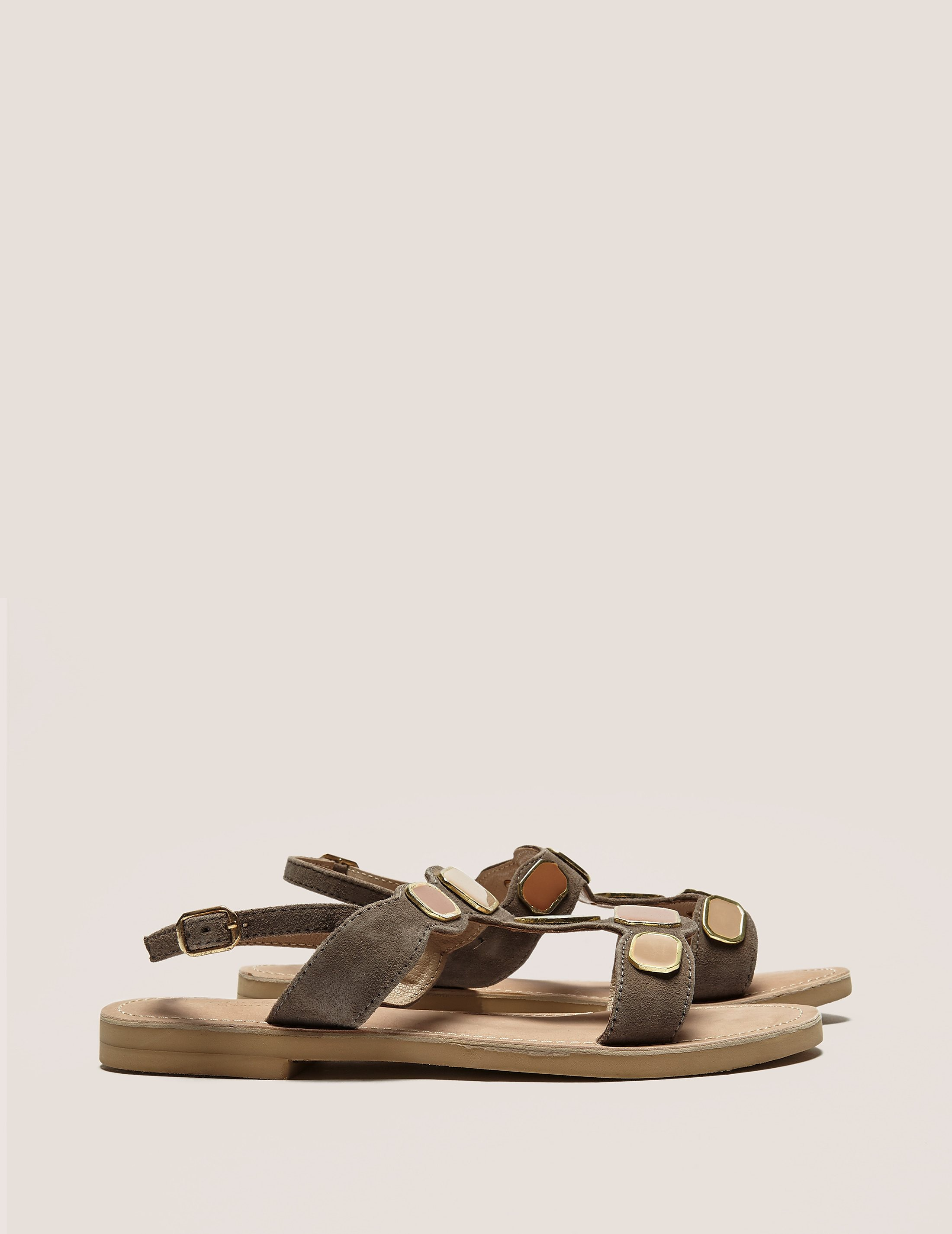 Ilse Jacobsen Suede Sandal With Plates