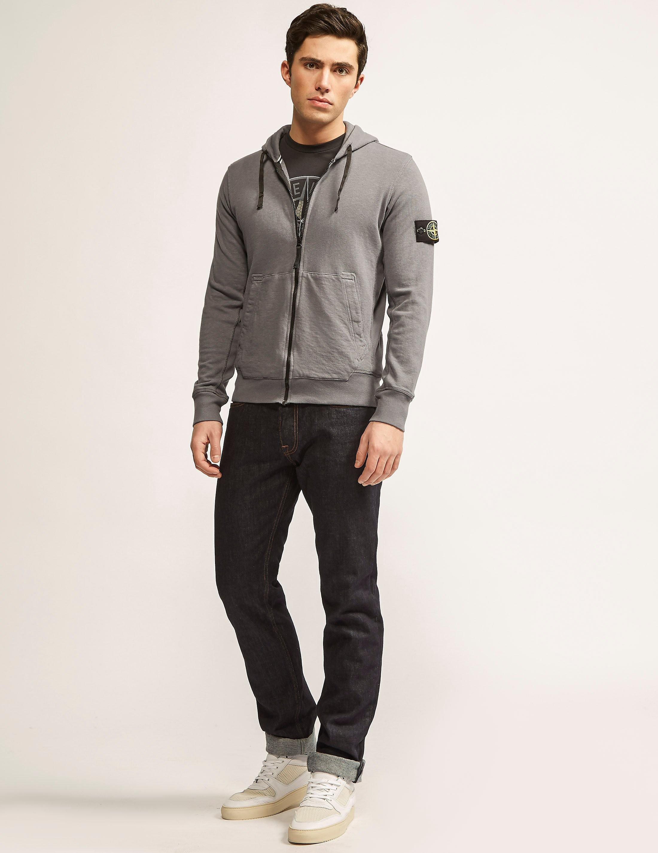 Stone Island Zip Through Hooded Dyed Sweatshirt
