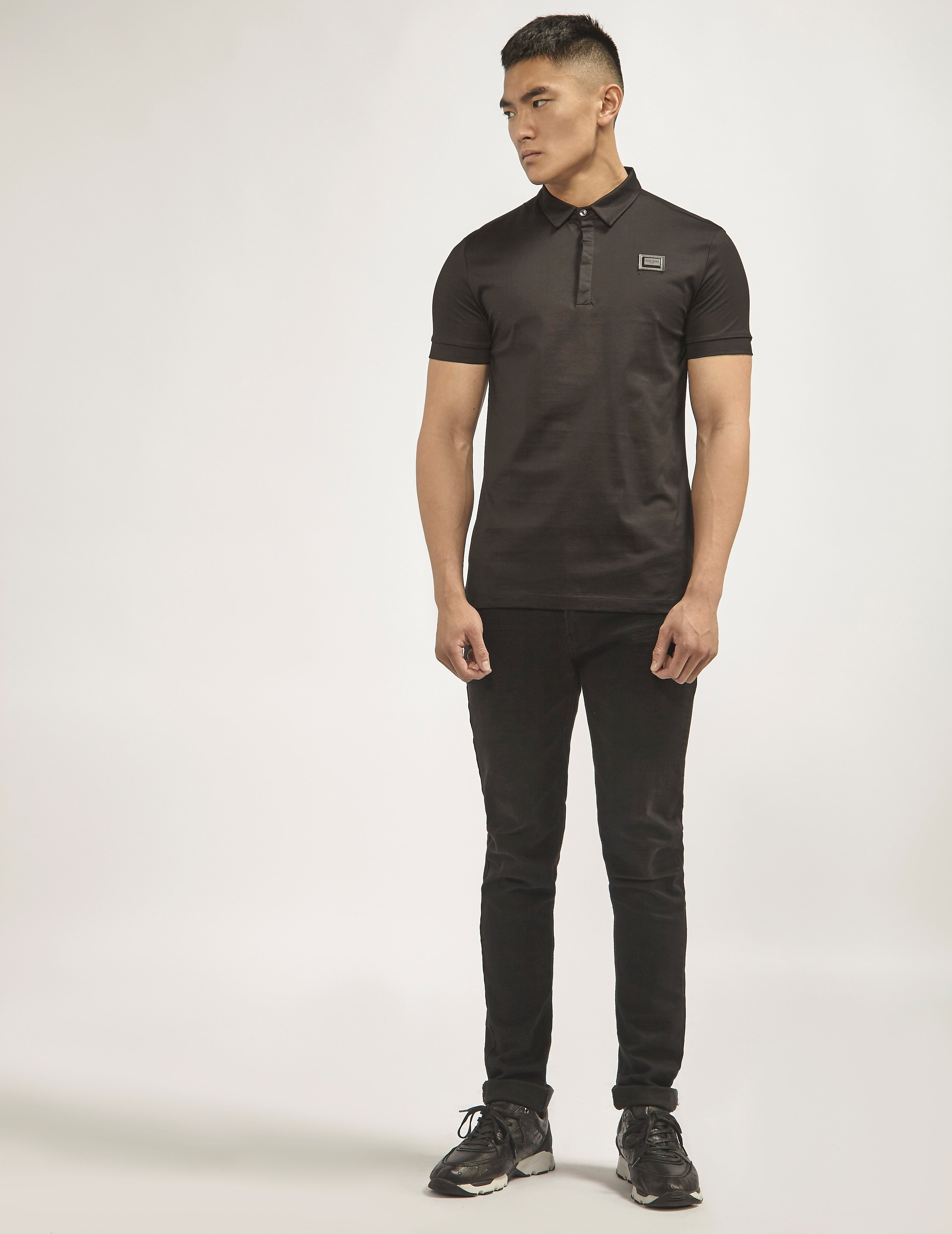 Antony Morato Black Plaque Polo Shirt