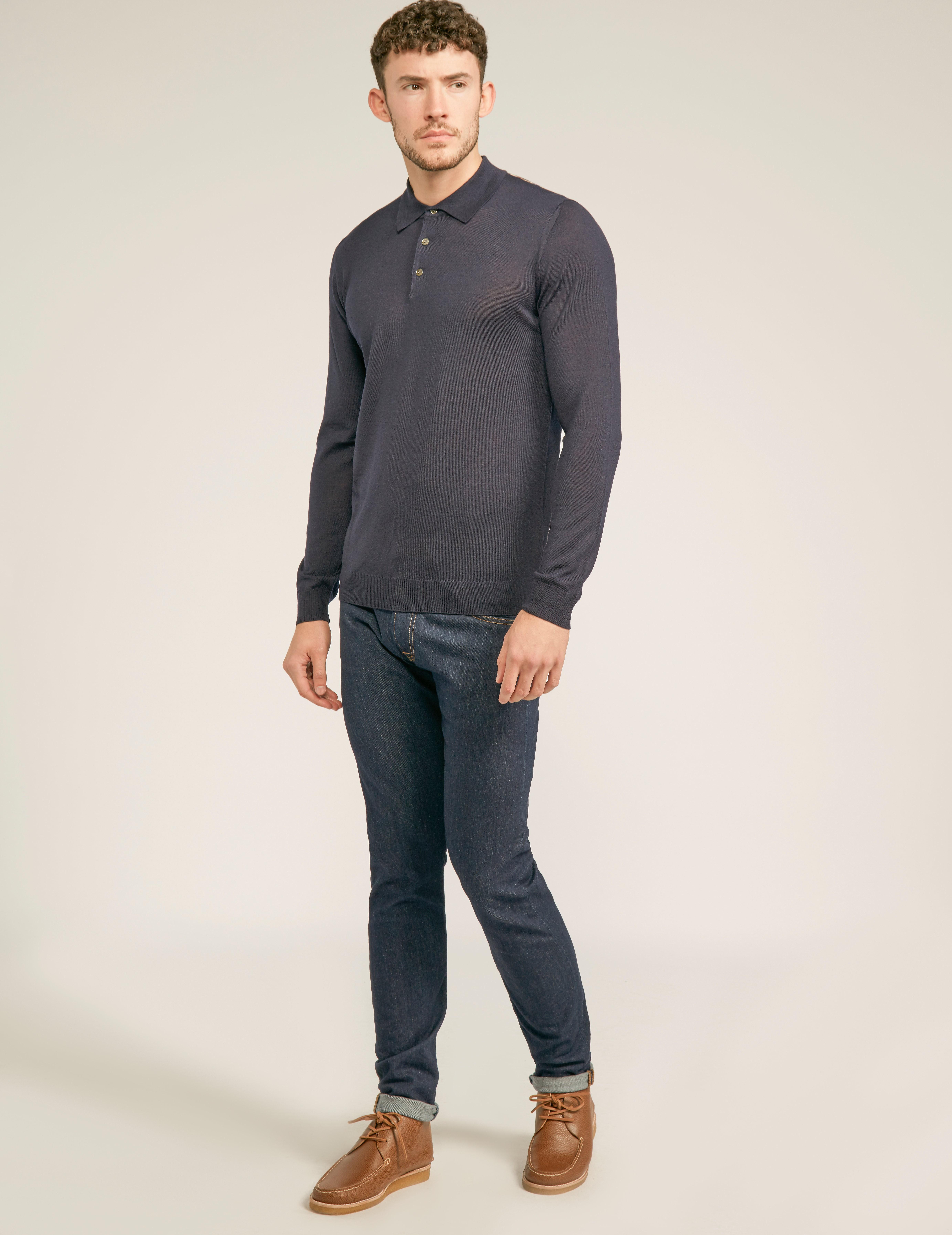 Aquascutum Knitted Long Sleeve Polo Shirt