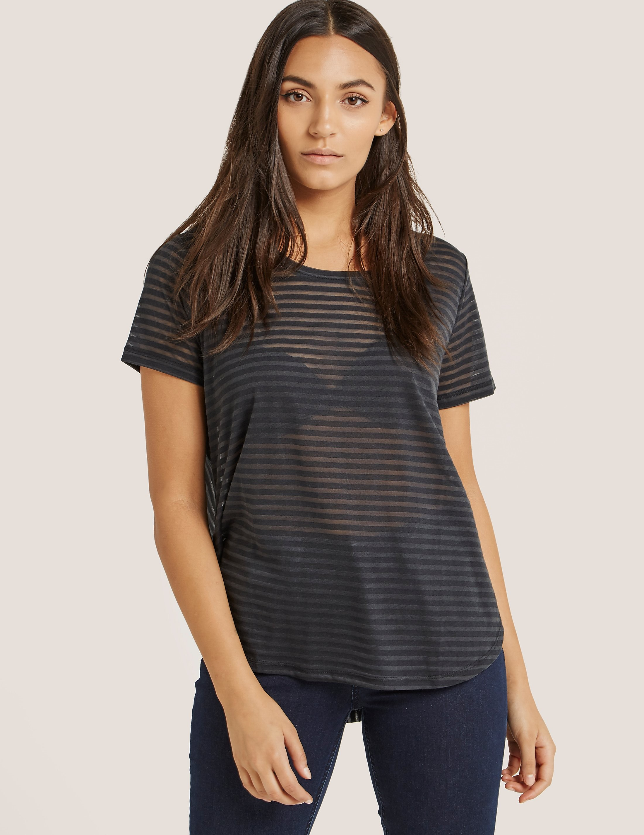 Maison Scotch Stripe Burn Out T-Shirt