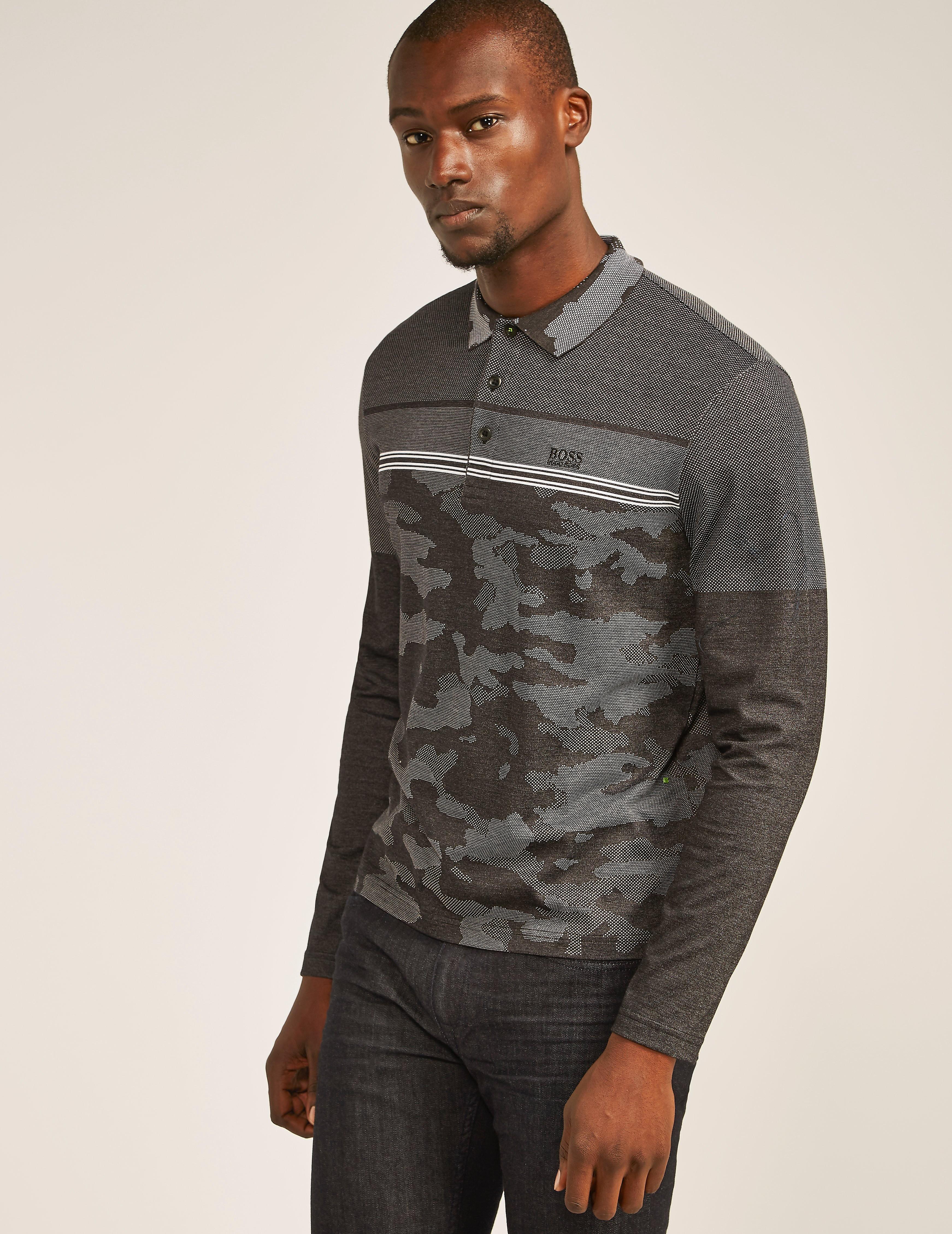 BOSS Green PLISY2 Camo Long Sleeve Polo Shirt