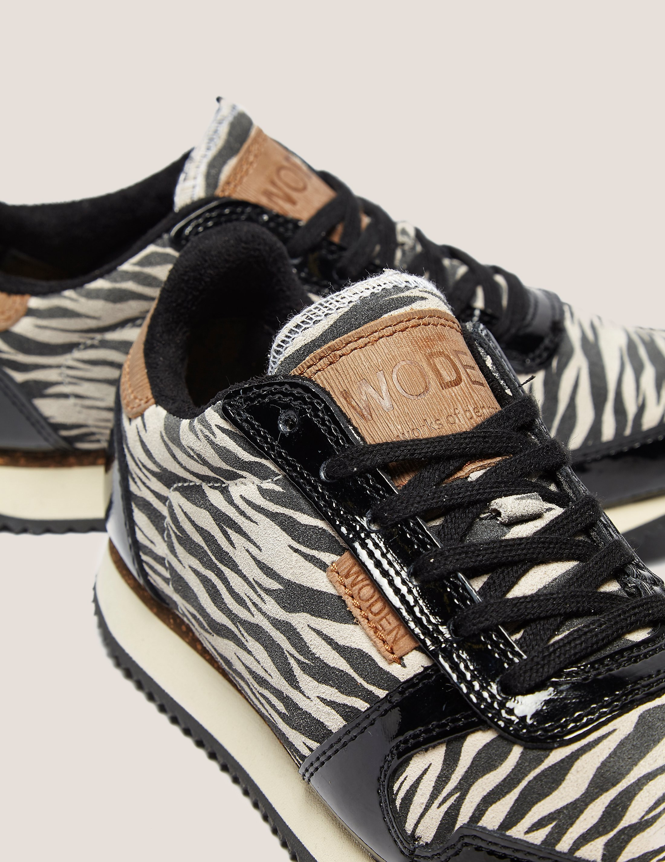 WODEN Animal White Zebra Trainers