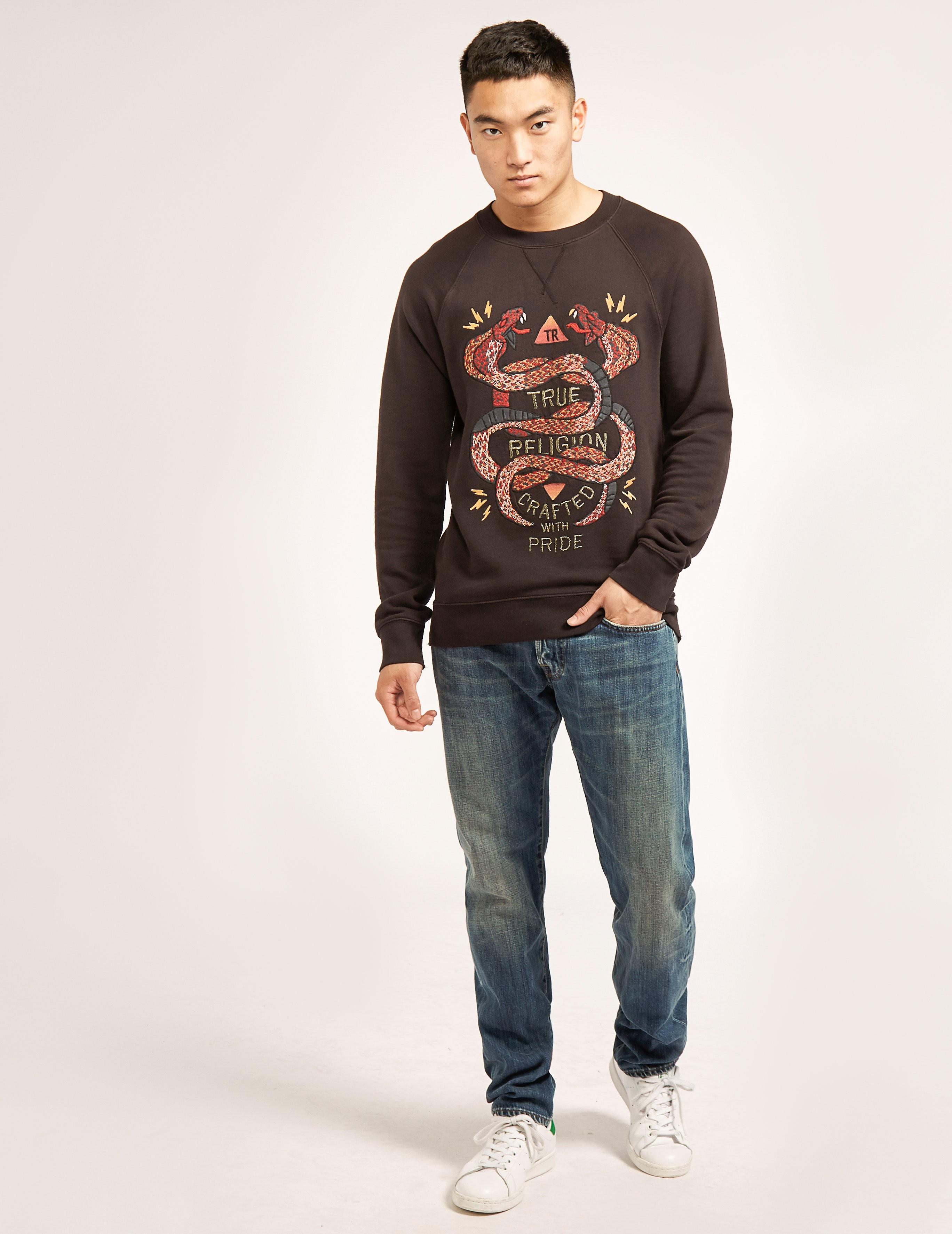 True Religion Embroidered Snake Sweatshirt