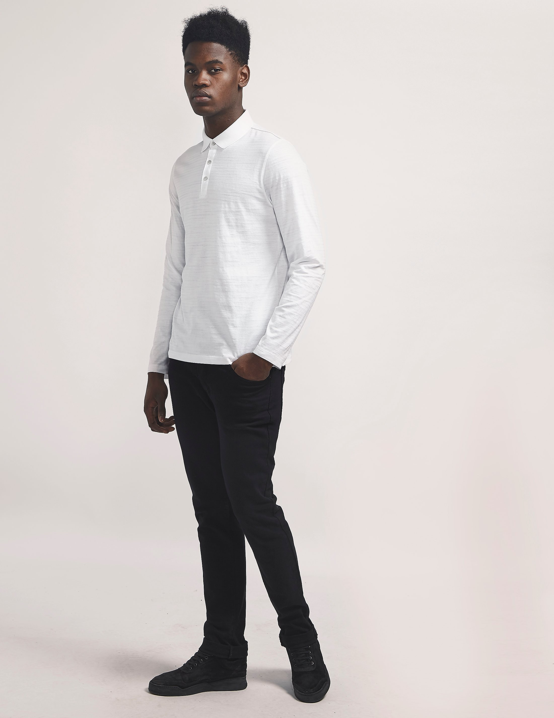 Michael Kors Striped Long Sleeve Polo Shirt
