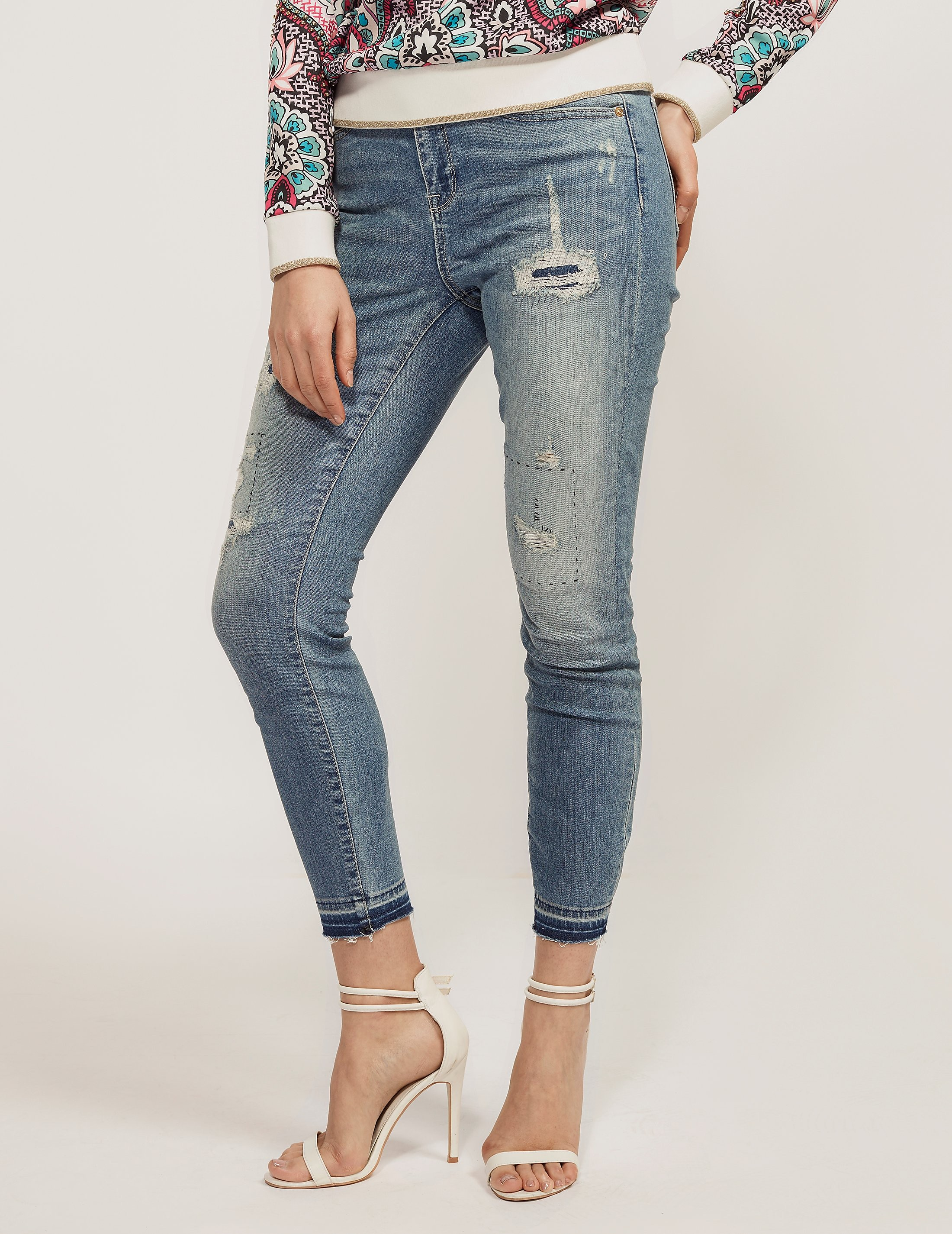 Juicy Couture Desty Repair Denim Embroidered Skinny Jean