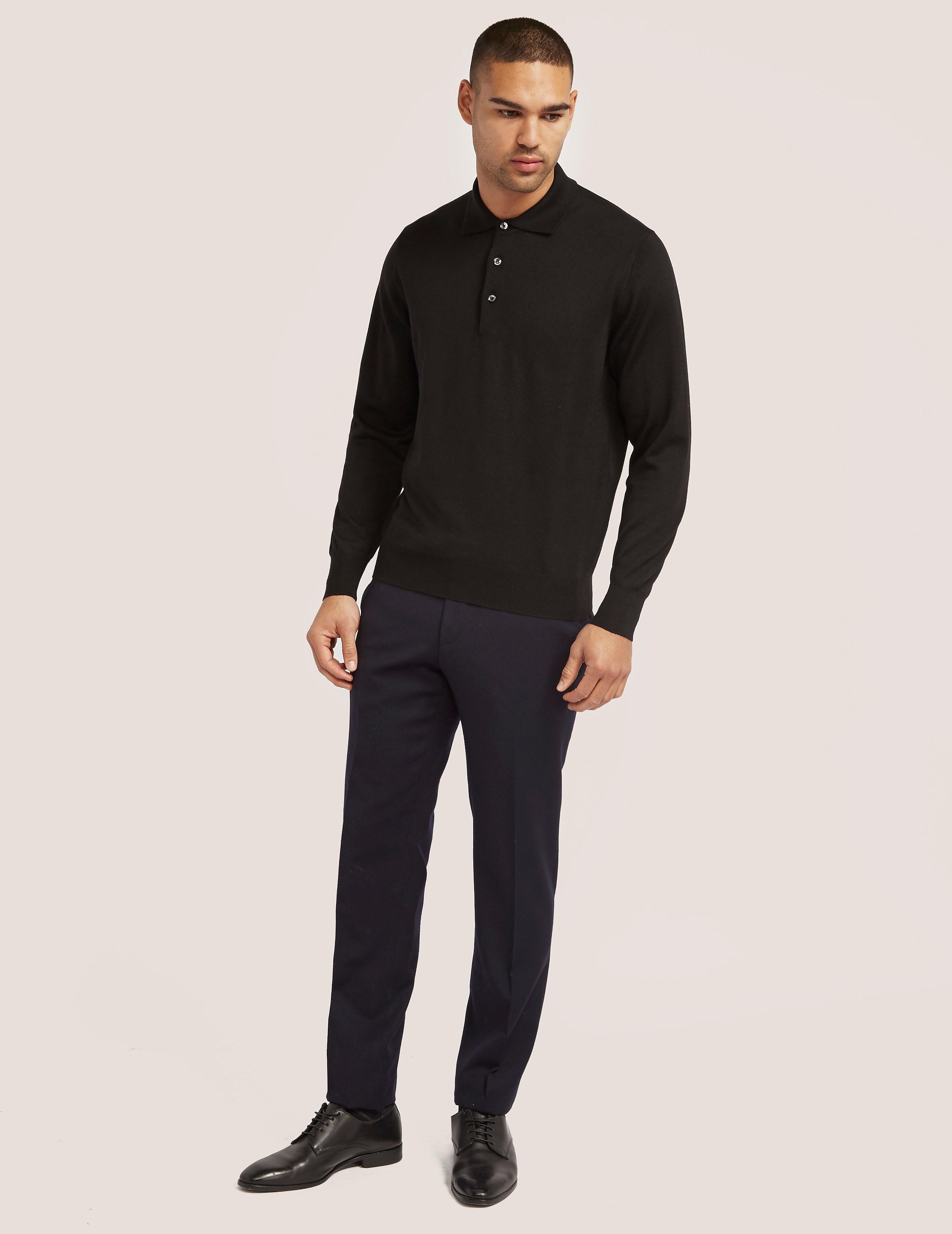 Gran Sasso Long Sleeve Merino Polo Shirt