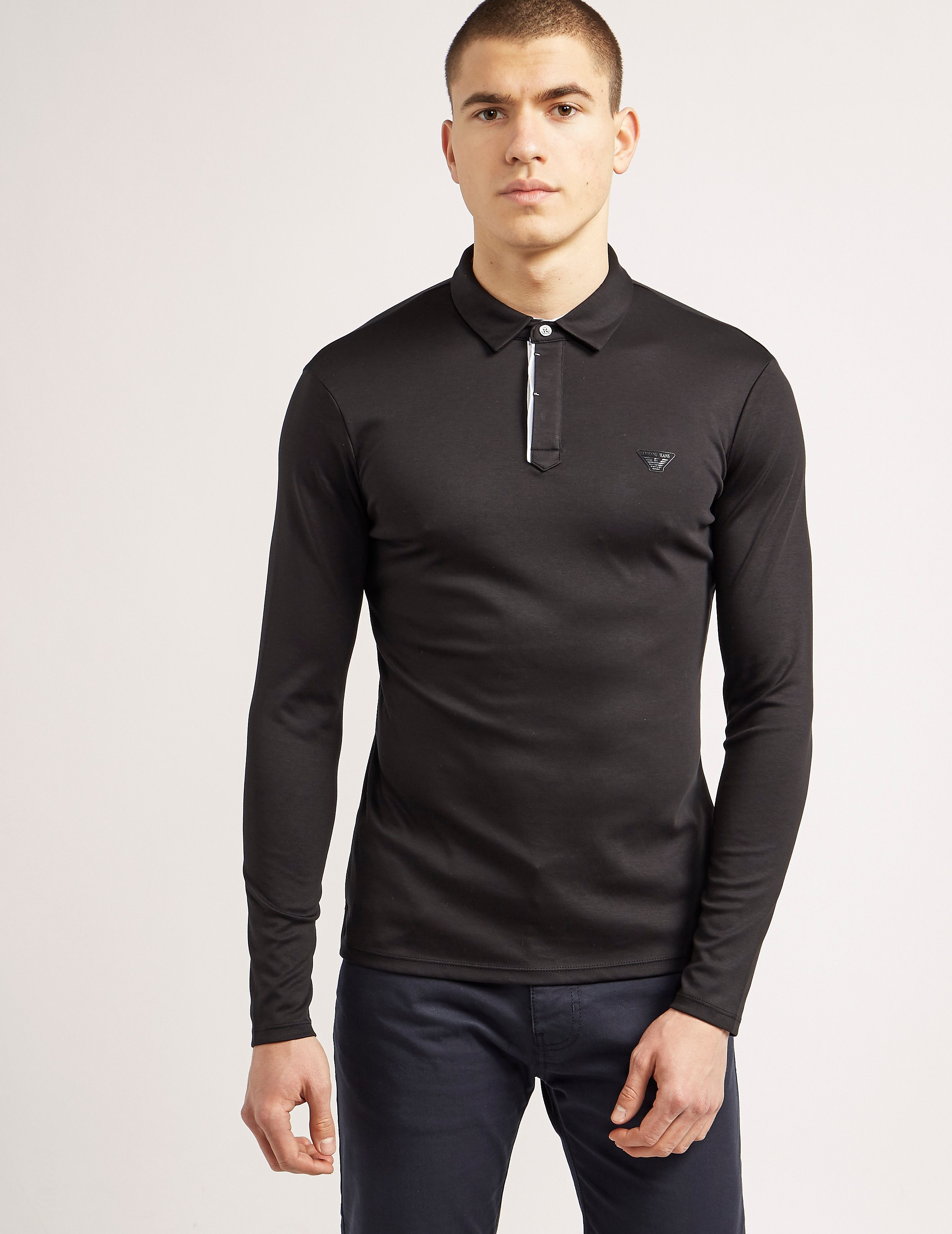 Armani Jeans Mercerised Long Sleeve Polo Shirt