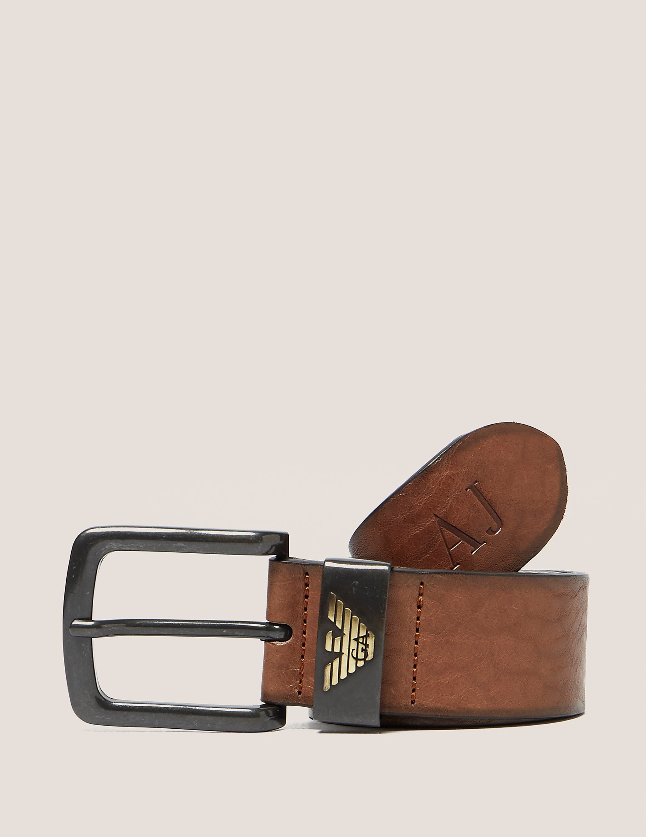 Armani Jeans Leather Eagle Belt