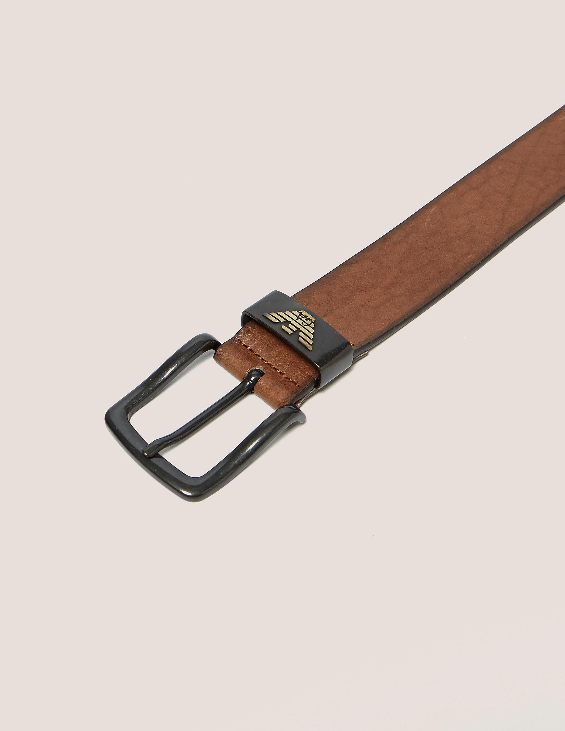 Armani Jeans Leather Eagle Belt