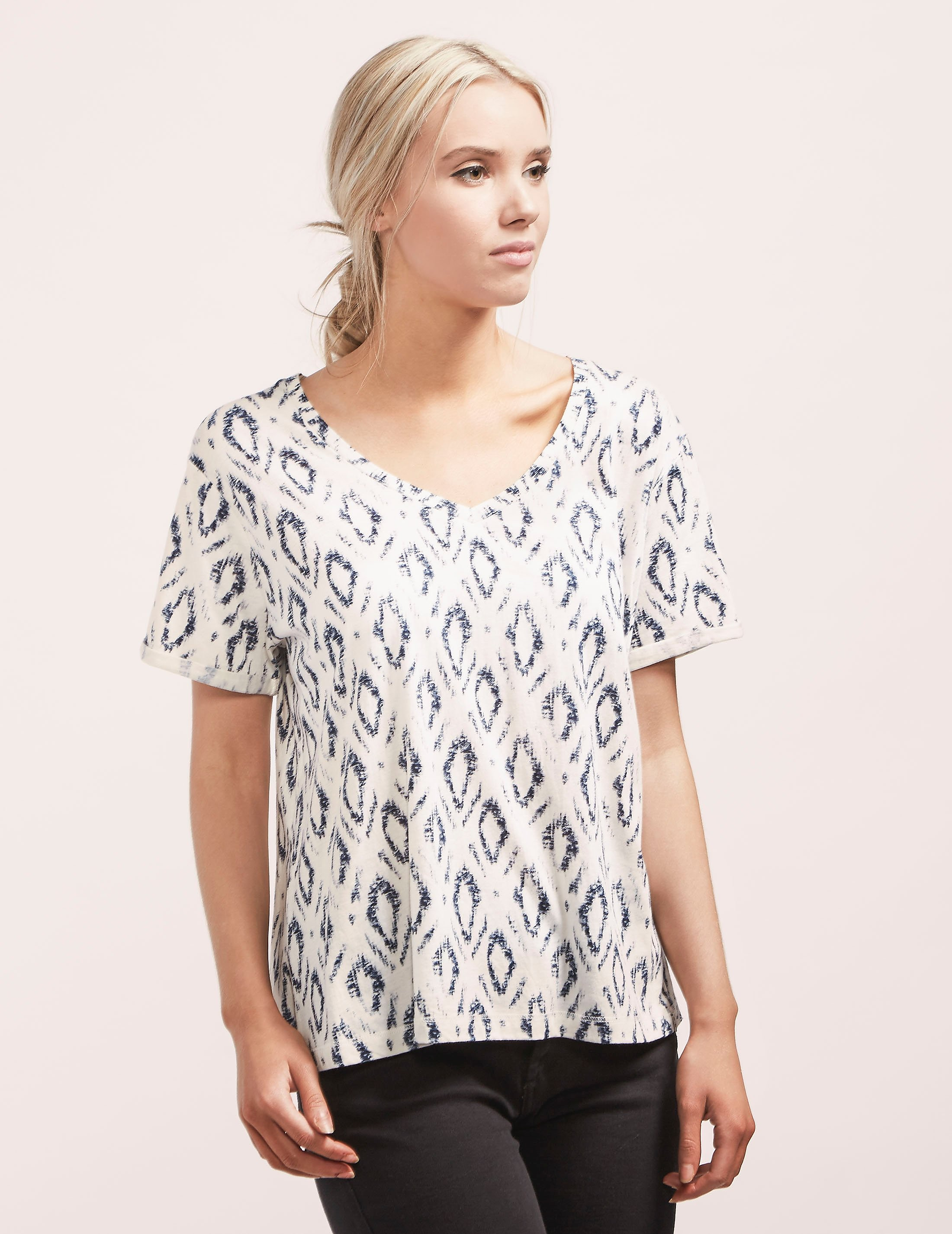 Maison Scotch Geometric Print Short Sleeve T-Shirt