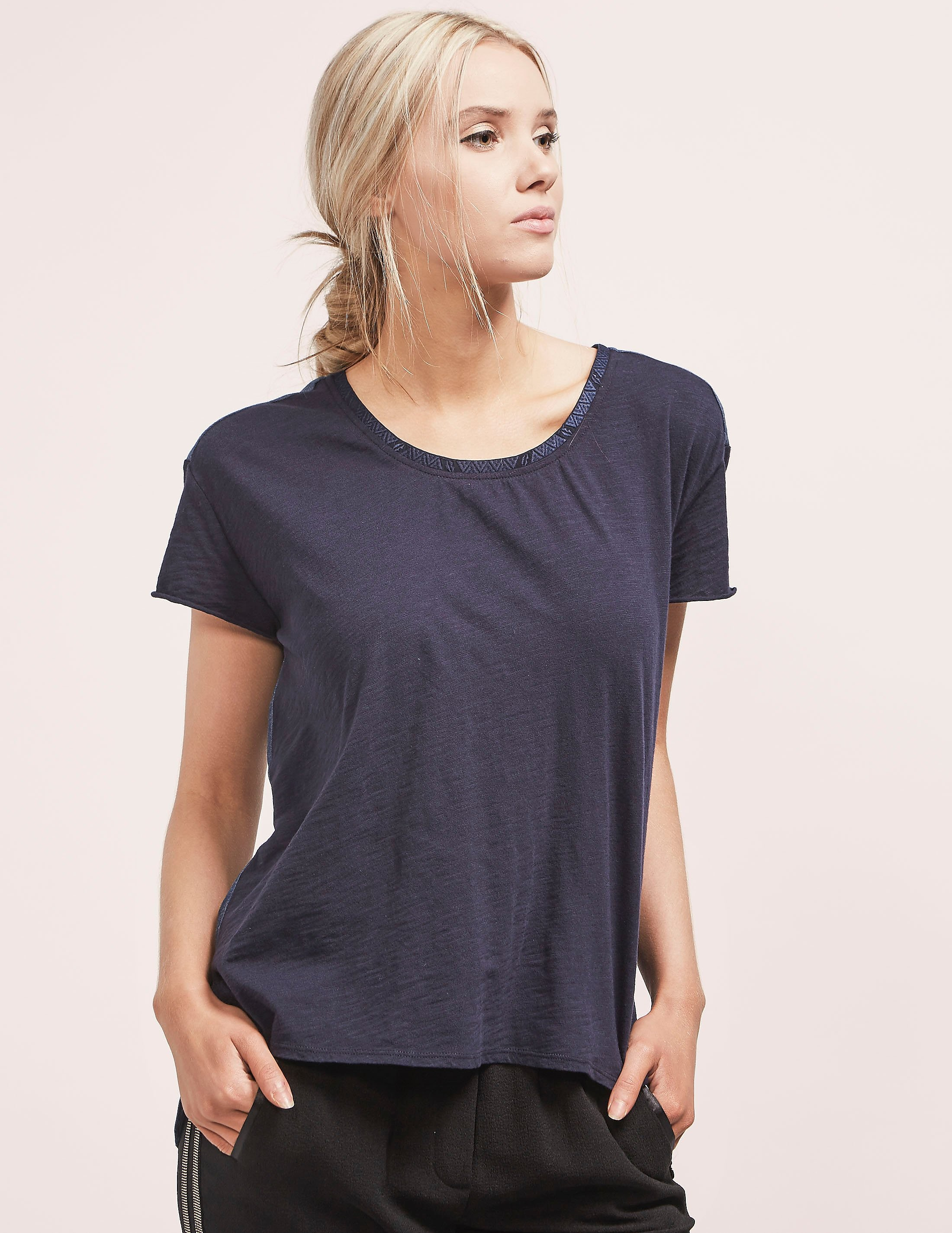 Maison Scotch Woven Back Short Sleeve T-Shirt