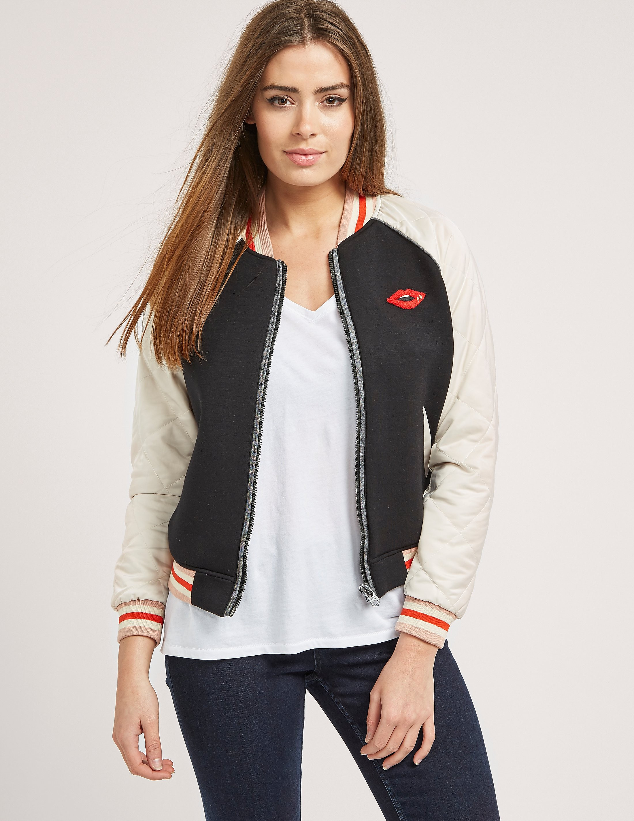 Maison Scotch Quilted Sleeve Bomber Jacket