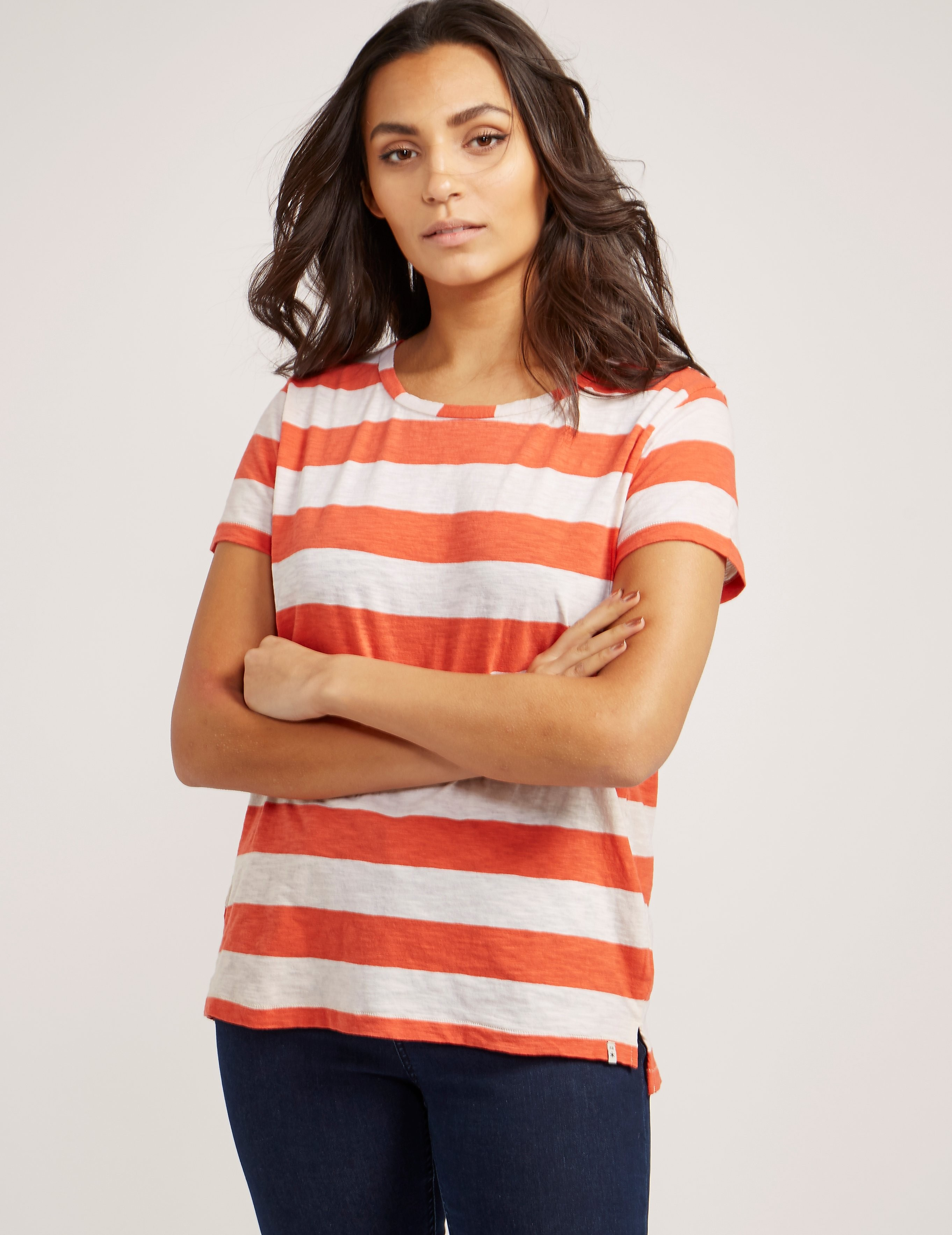 Maison Scotch Coral Stripe Short Sleeve t-Shirt