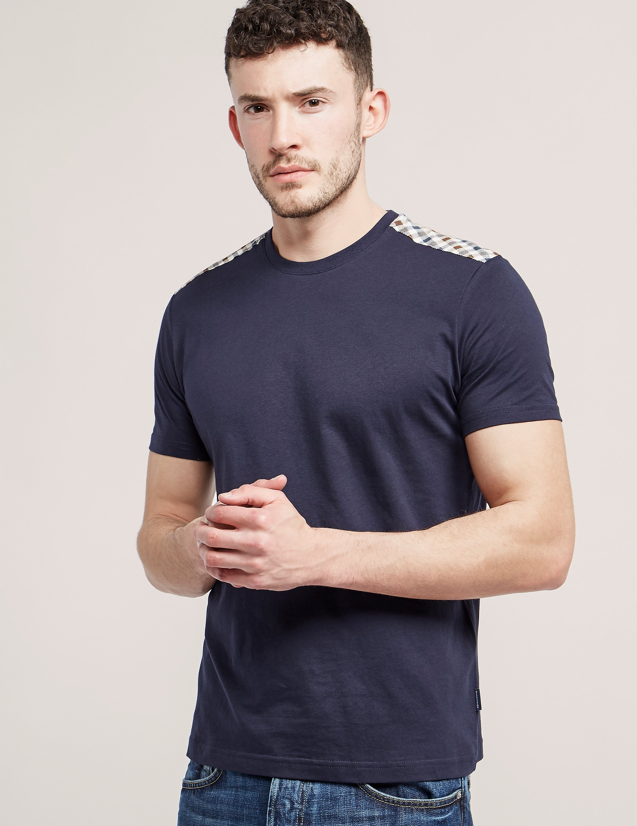 Aquascutum Check Shoulder T-Shirt