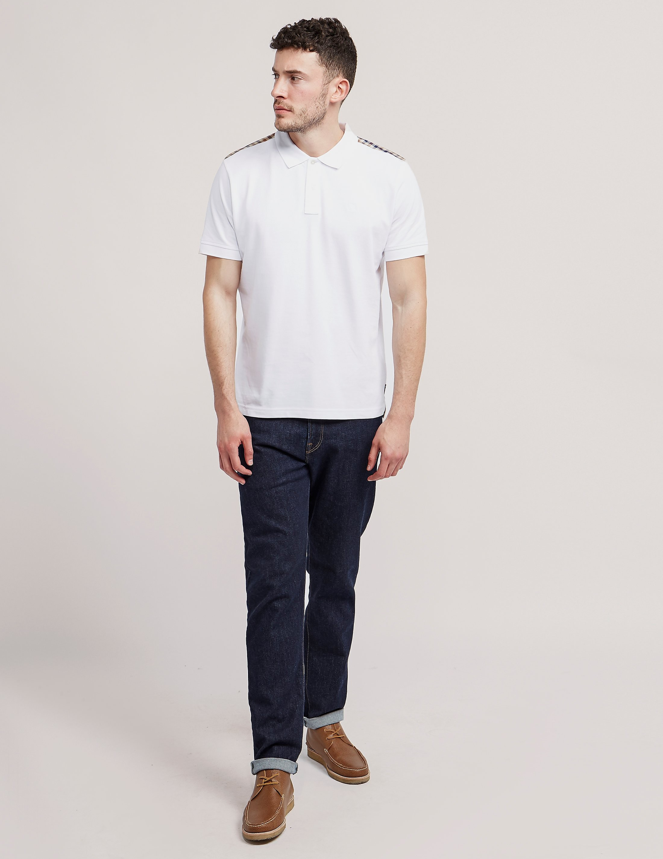 Aquascutum Hill Check Shoulder Polo Shirt