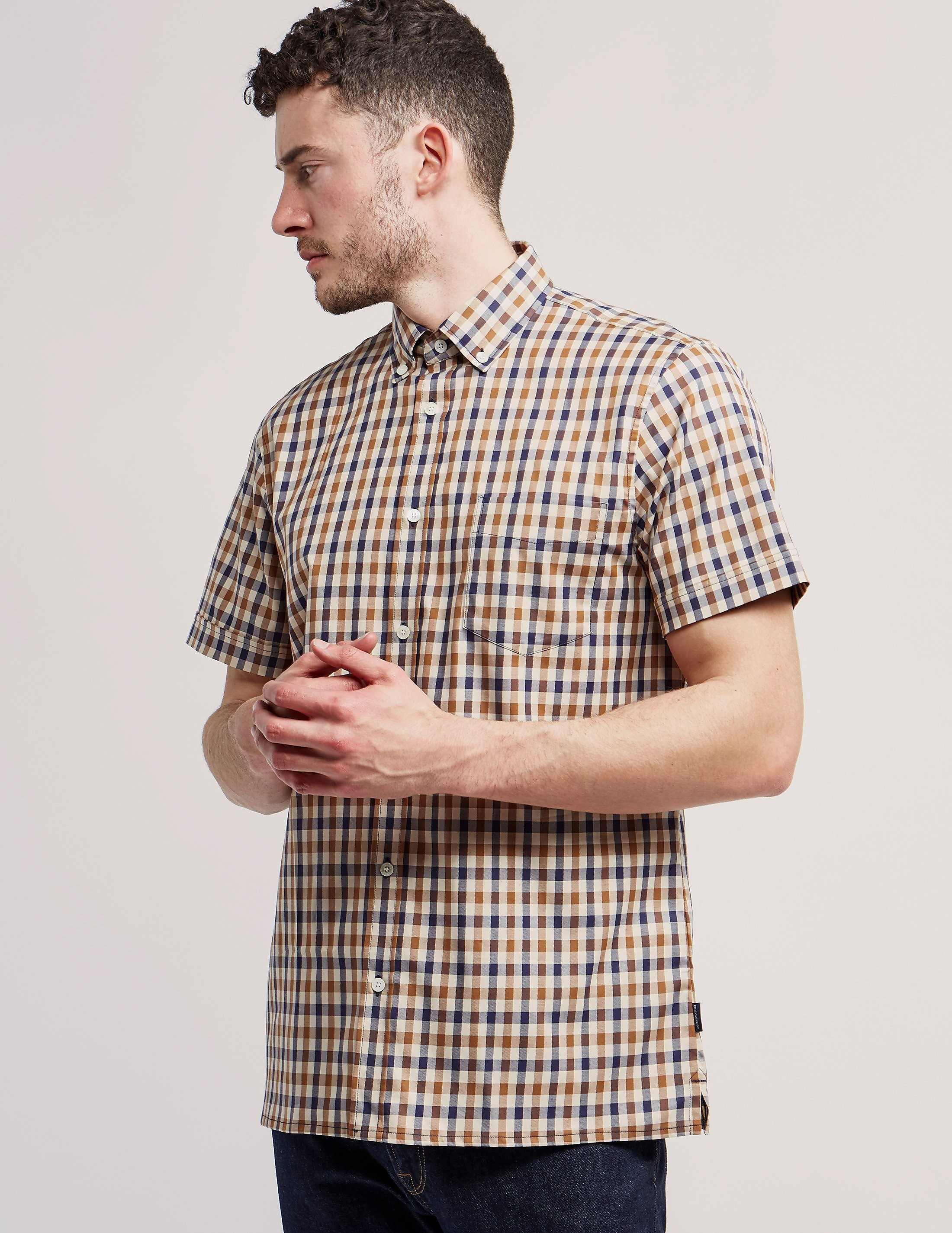 Aquascutum Short Sleeve Check Shirt