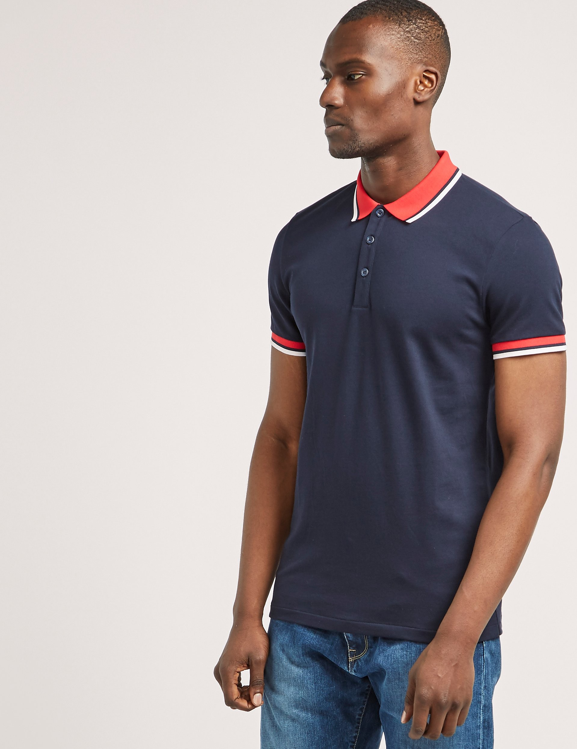 BOSS Contrast Collar Short Sleeve Polo Shirt