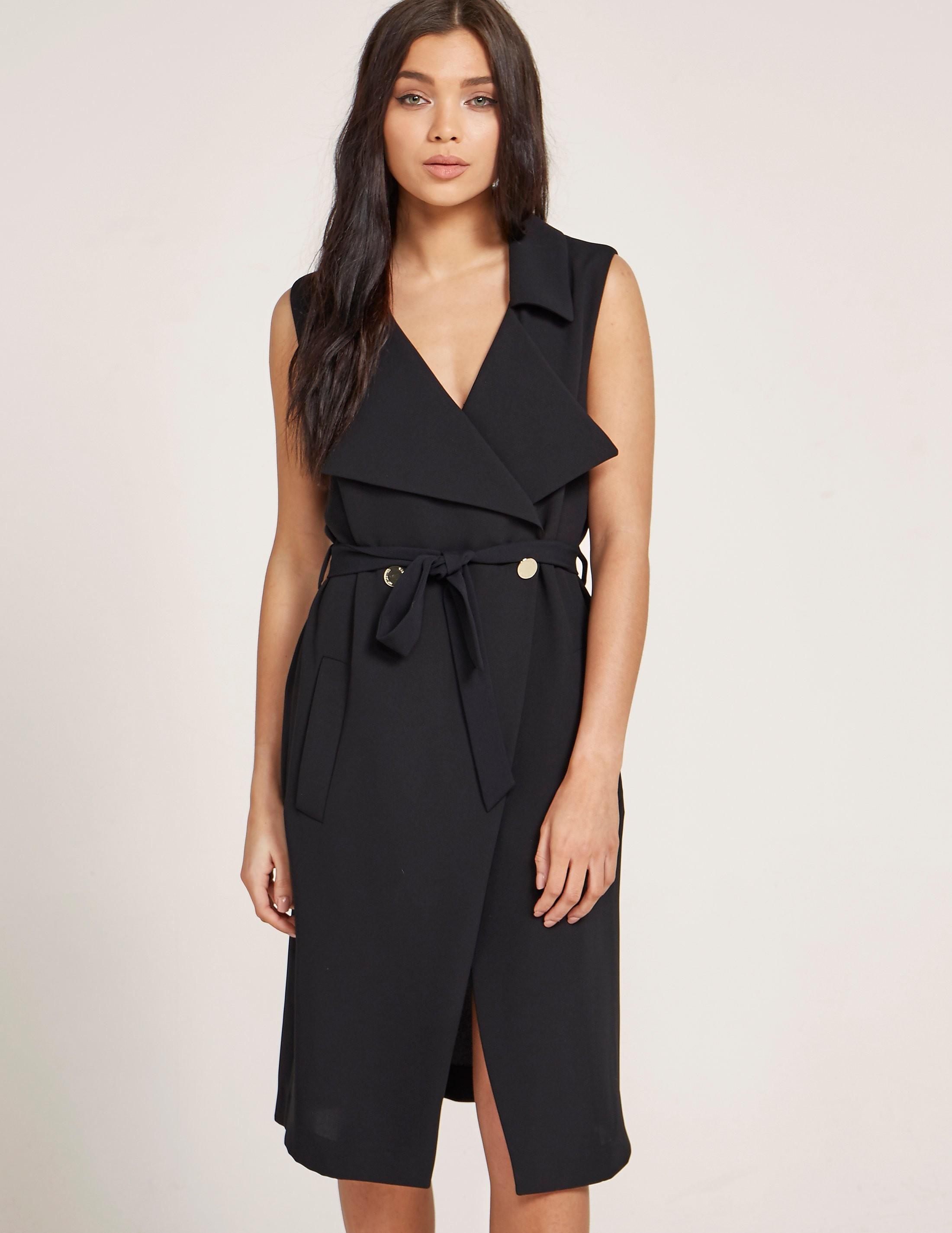 Versus Versace Blouson Black Tie Dress