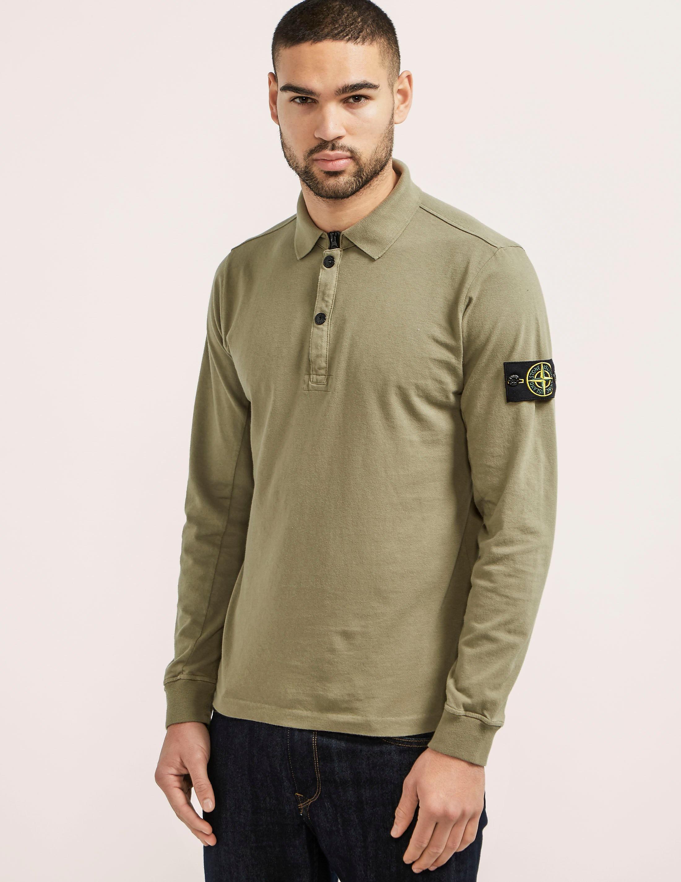Stone Island Zip Long Sleeve Polo Shirt