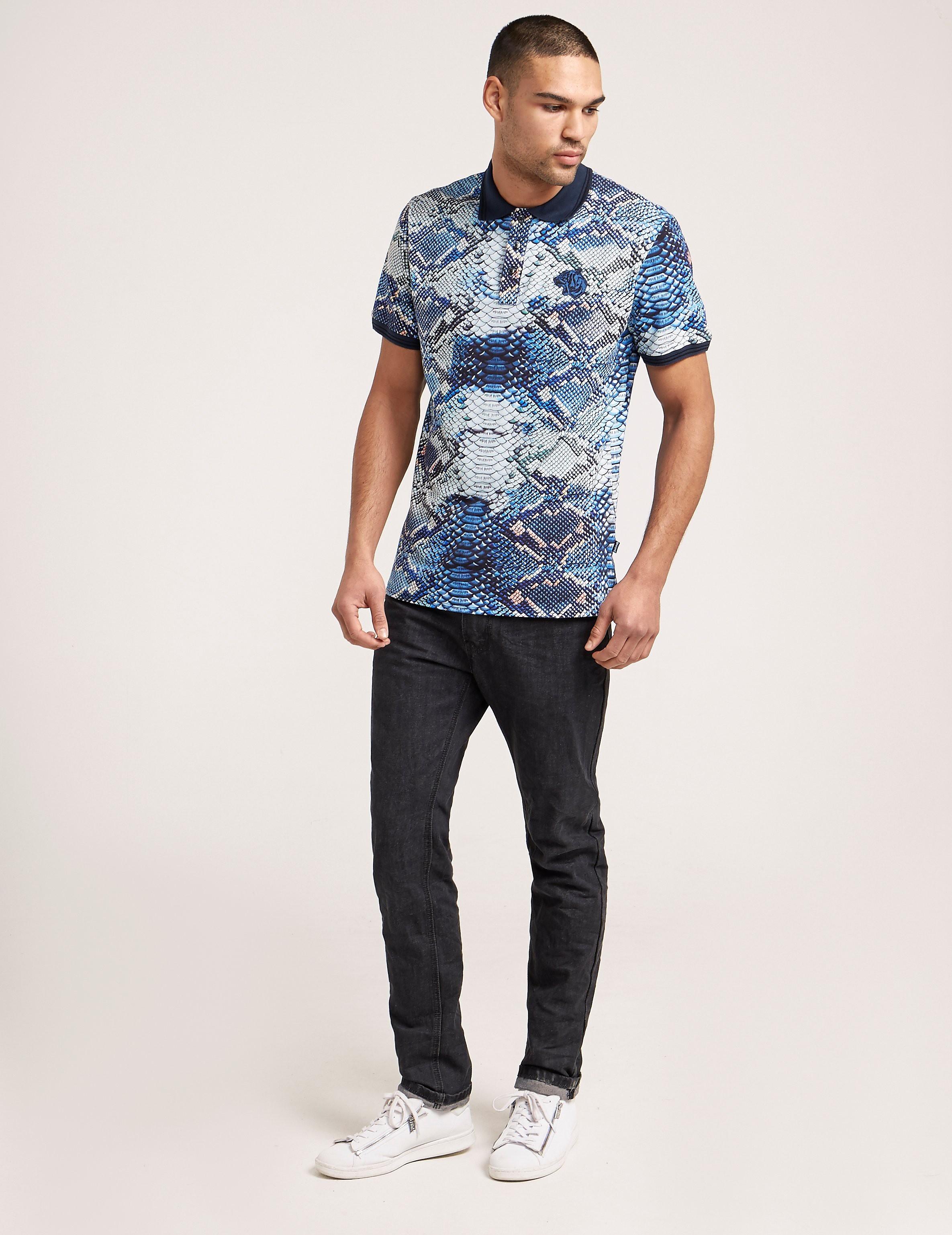 Just Cavalli Snake Short Sleeve Polo Shirt