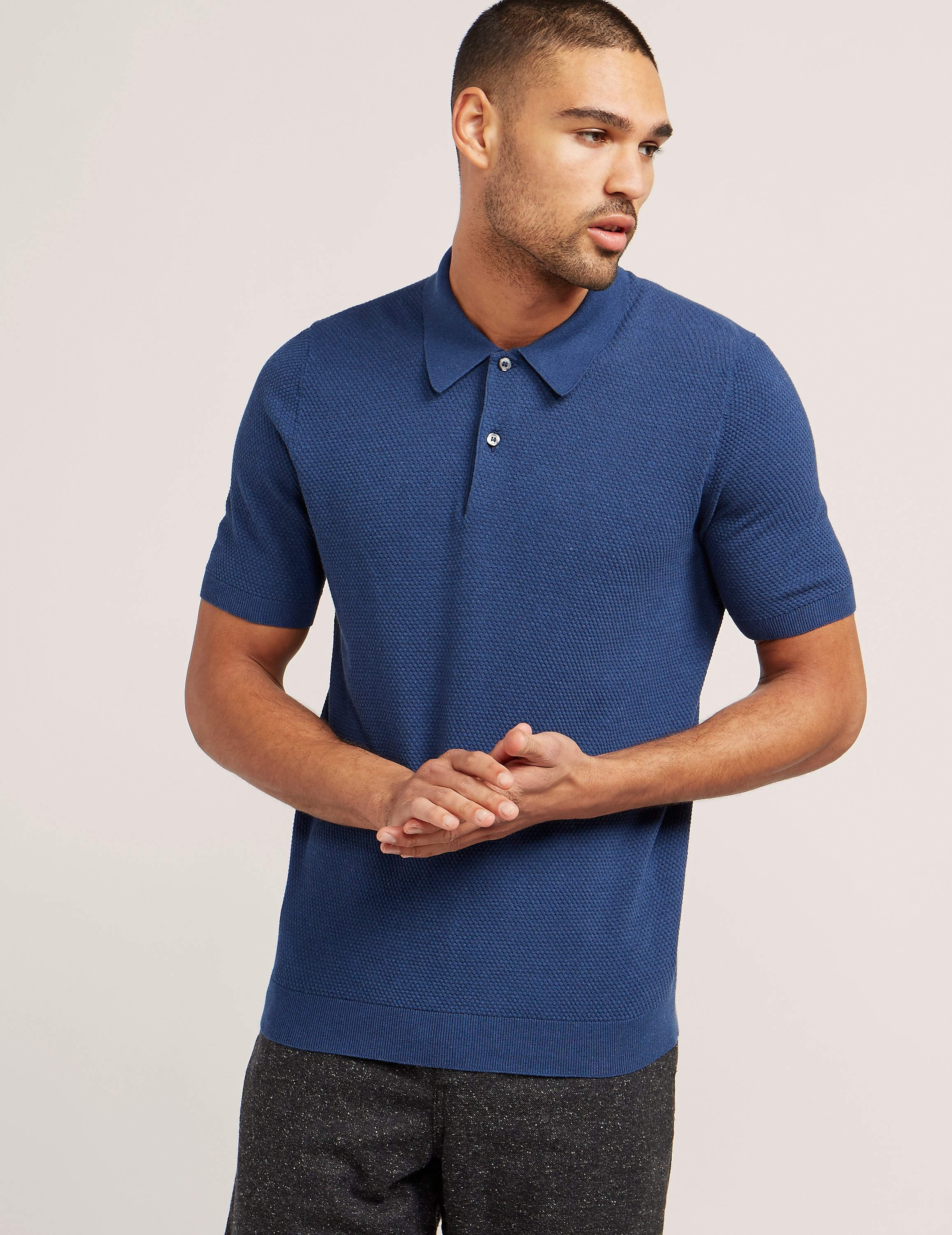 Gran Sasso Textured Short Sleeve Polo Shirt