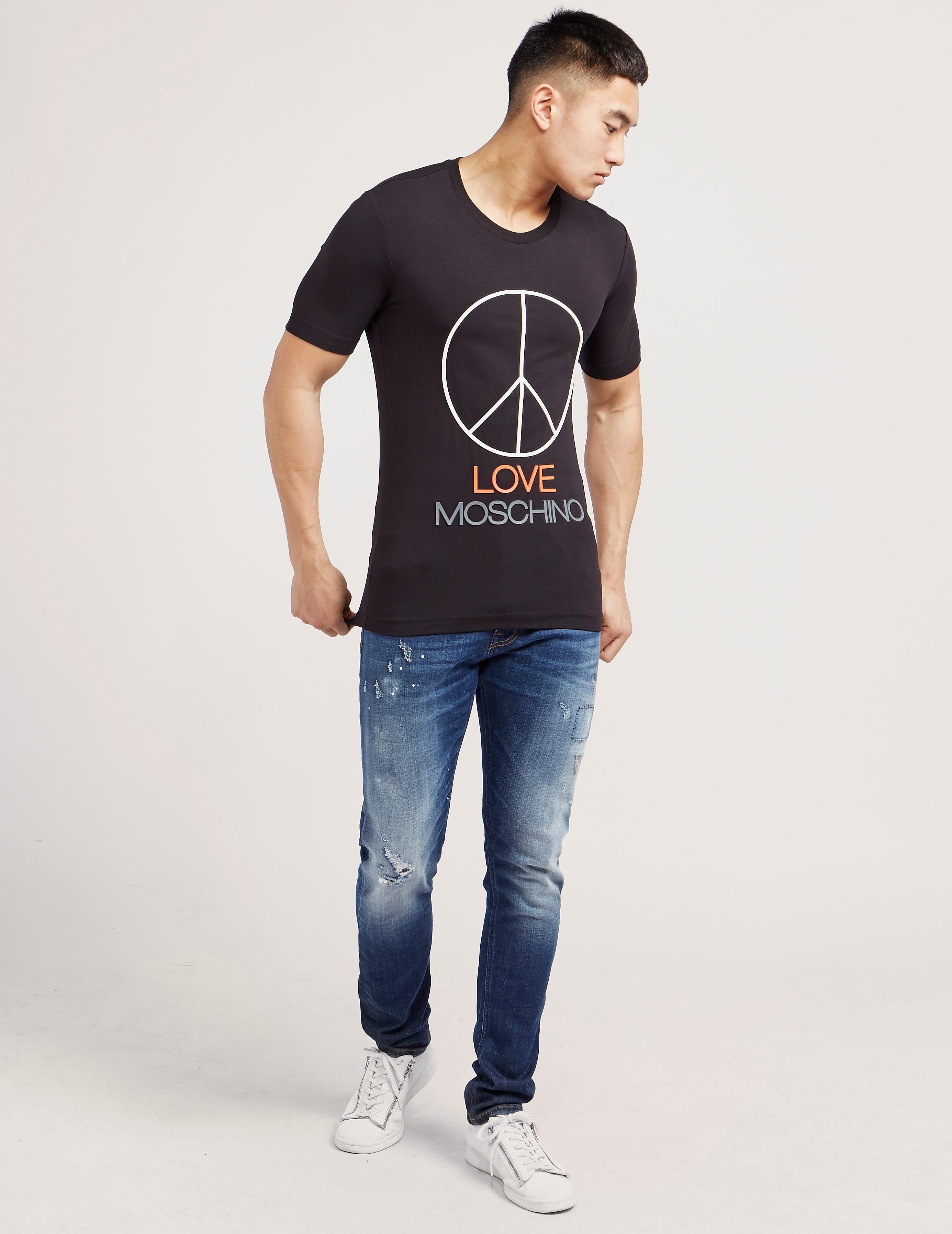 Love Moschino Large Peace Logo Short Sleeve T-Shirt